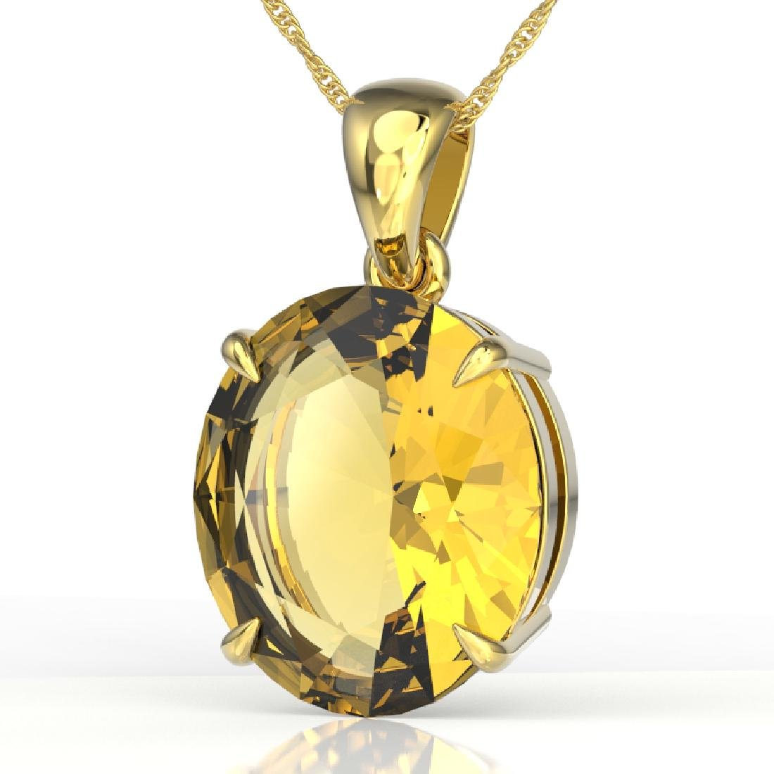 9 CTW Citrine Designer Solitaire Necklace 18K Yellow