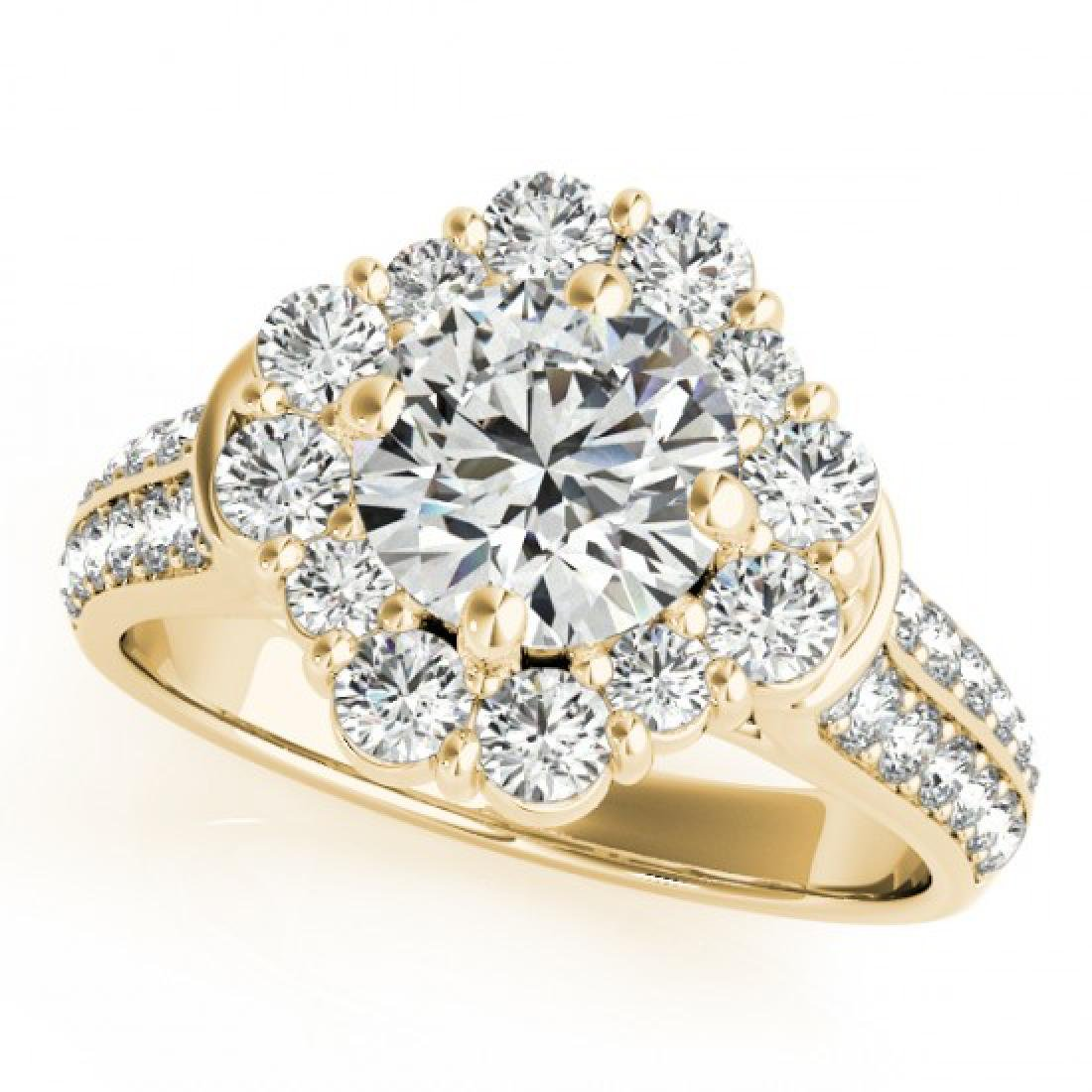 2.81 CTW Certified VS/SI Diamond Solitaire Halo Ring