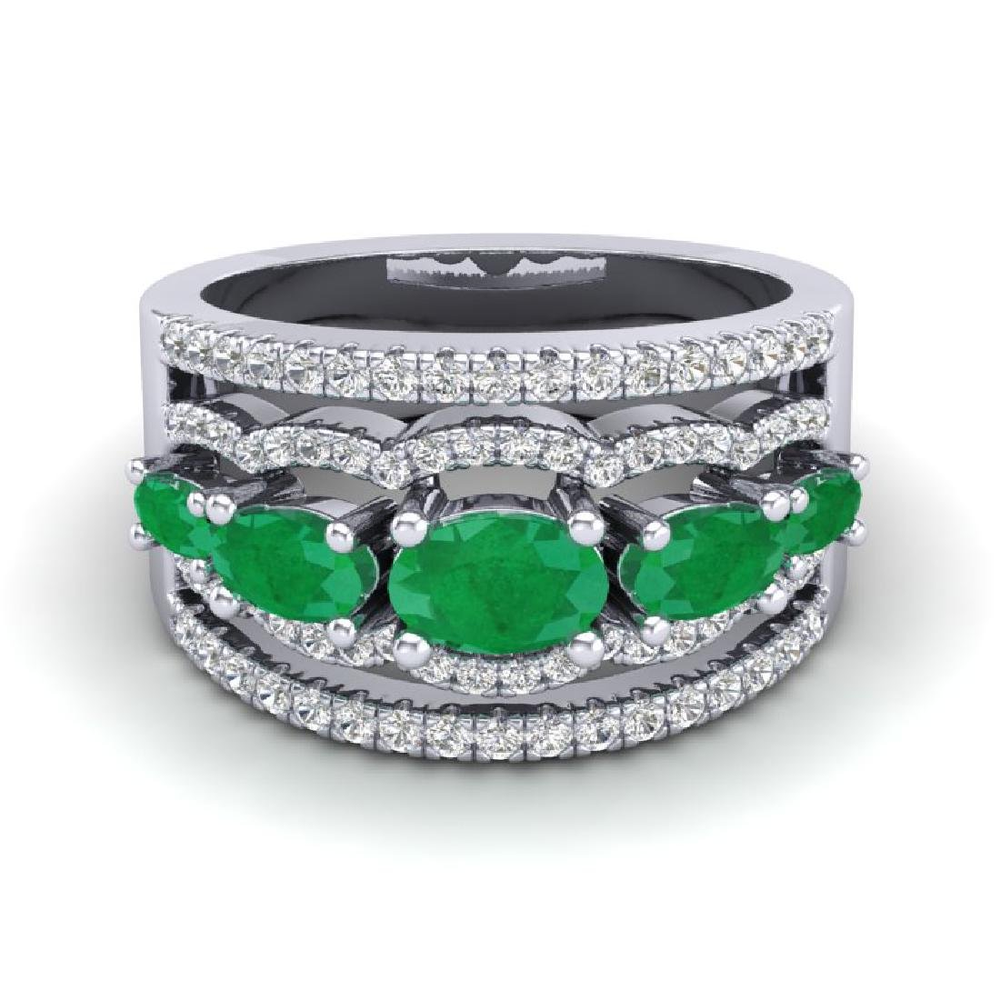 2.25 CTW Emerald & Micro Pave VS/SI Diamond Designer