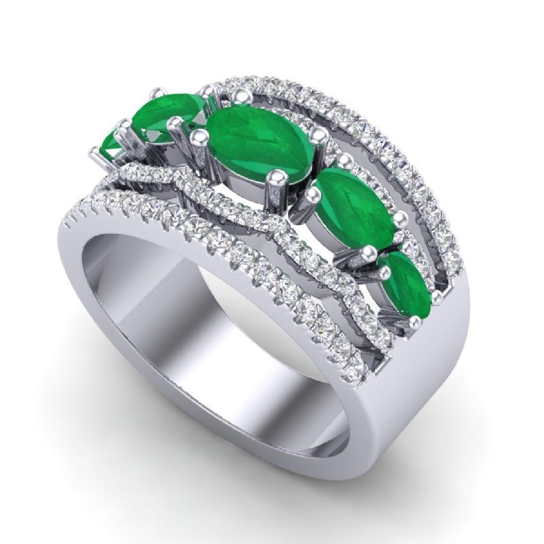 2.25 CTW Emerald & Micro Pave VS/SI Diamond Designer - 2