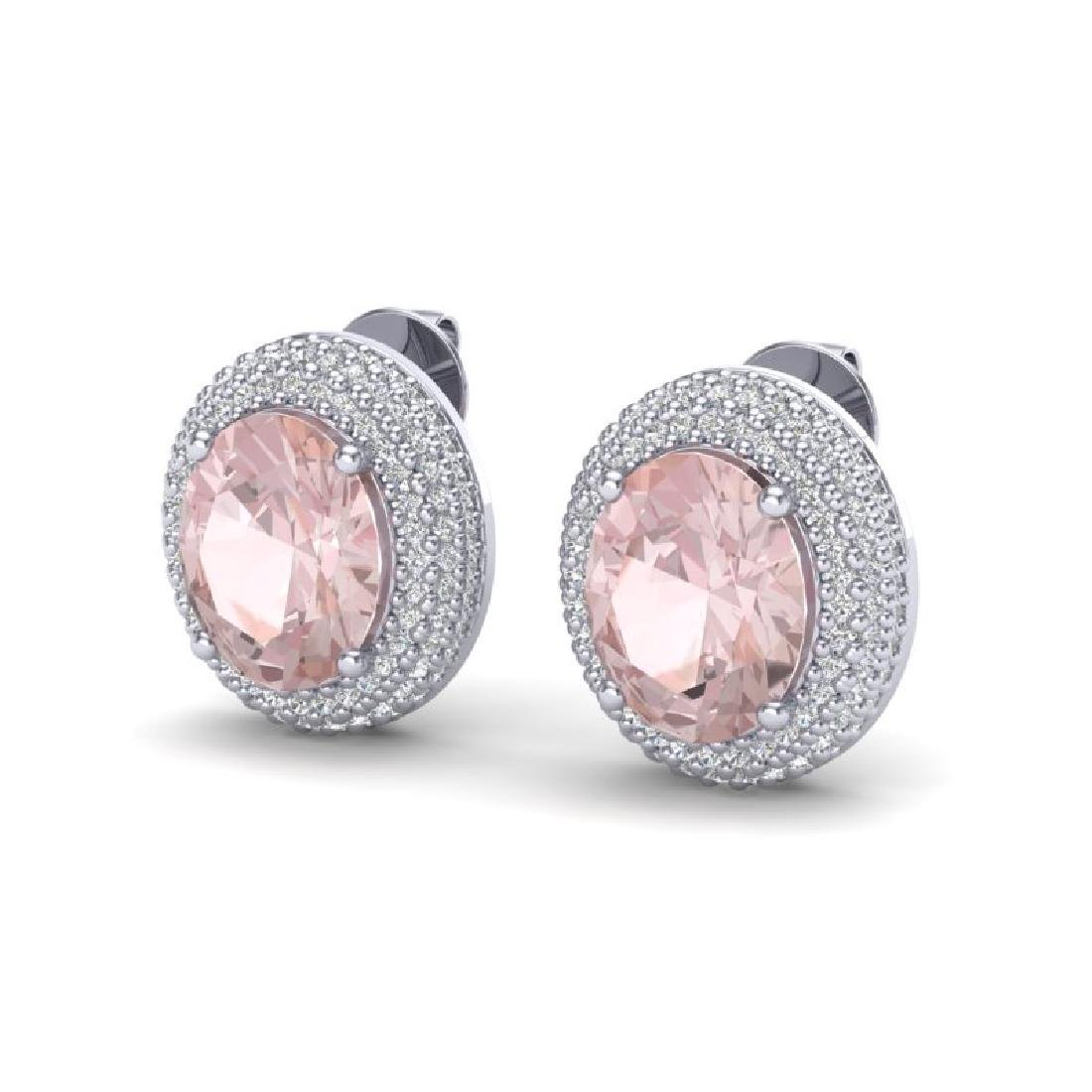 9 CTW Morganite & Micro Pave VS/SI Diamond Earrings 18K - 2