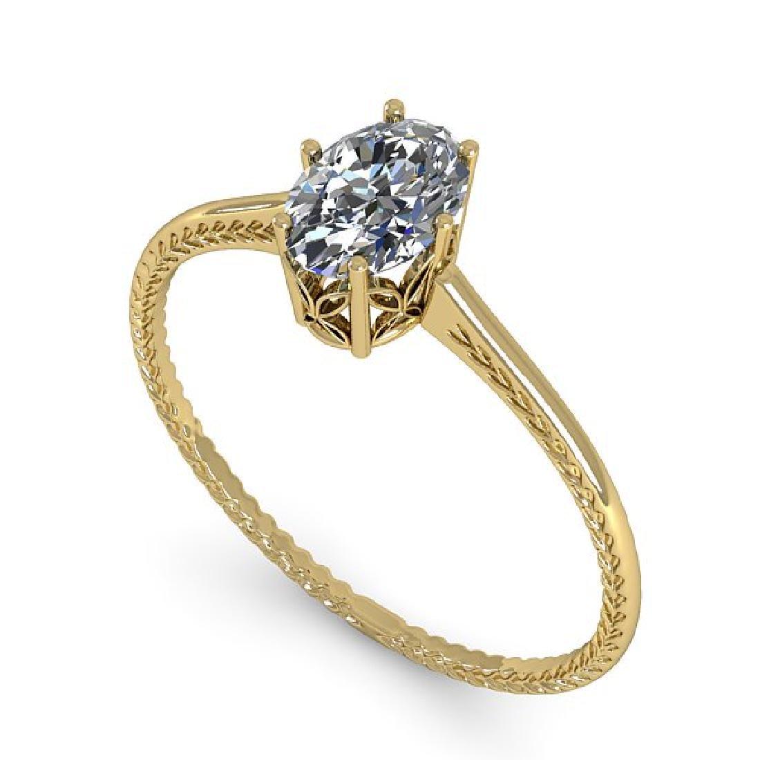 1.0 CTW VS/SI Oval Cut Diamond Art Deco Ring 14K Yellow - 2