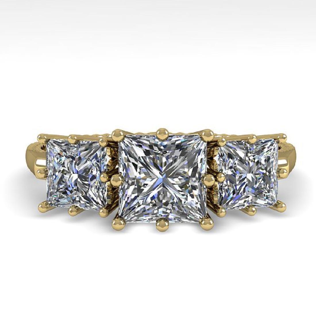 2.0 CTW VS/SI Princess Diamond Art Deco Ring 14K Yellow