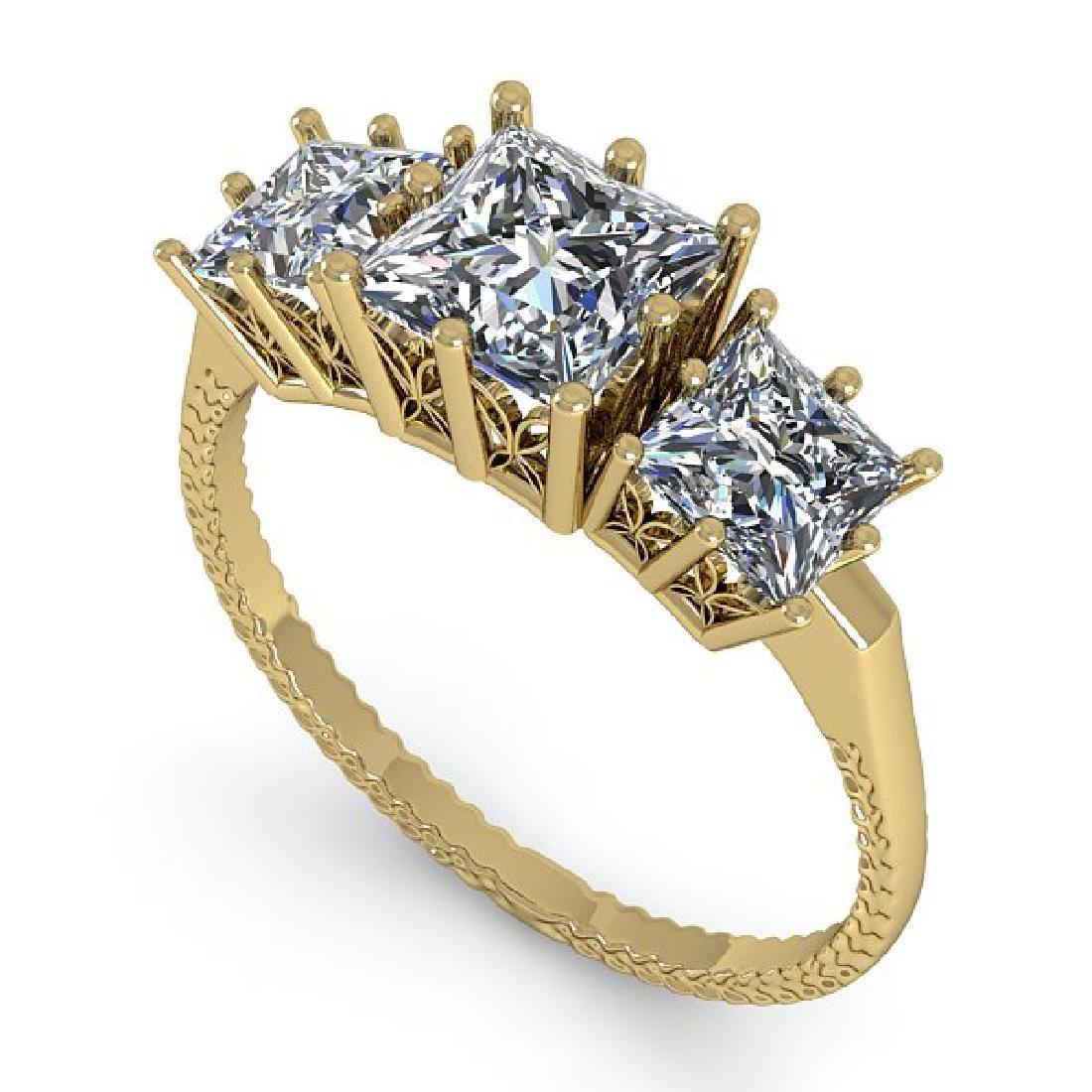 2.0 CTW VS/SI Princess Diamond Art Deco Ring 14K Yellow - 2