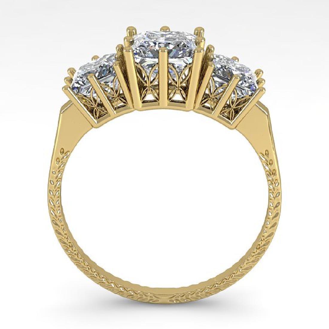 2.0 CTW VS/SI Princess Diamond Art Deco Ring 14K Yellow - 3