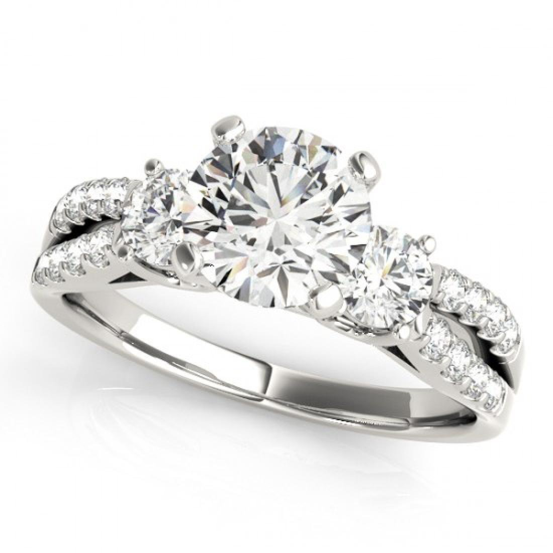 1.75 CTW Certified VS/SI Diamond 3 Stone Ring 14K White