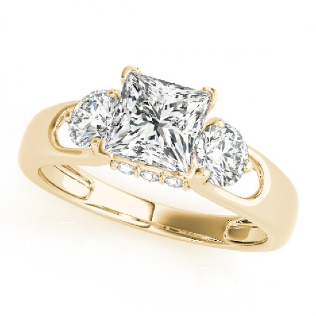 1.35 CTW Certified VS/SI Princess Cut Diamond 3 Stone - 2