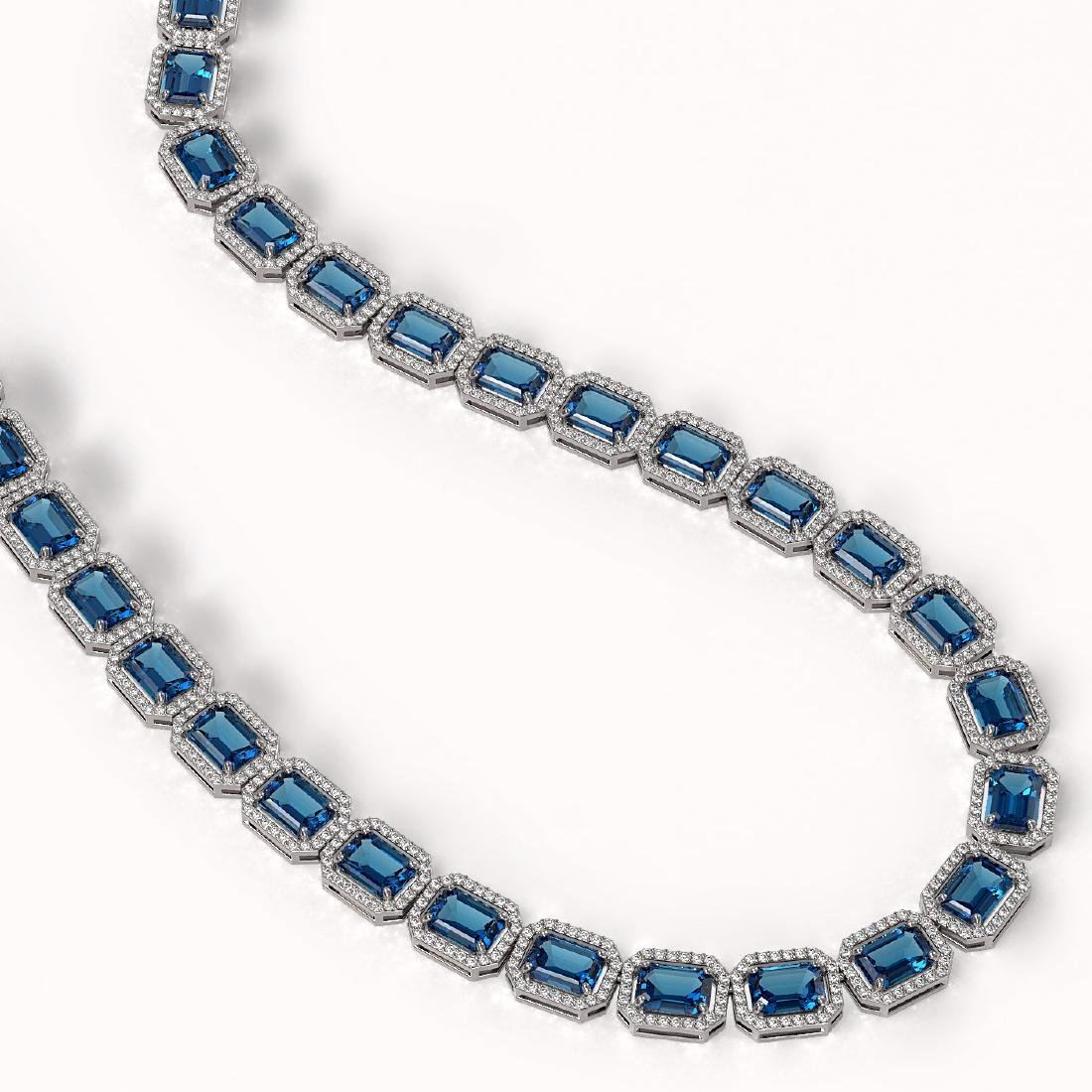 56.69 CTW London Topaz & Diamond Halo Necklace 10K