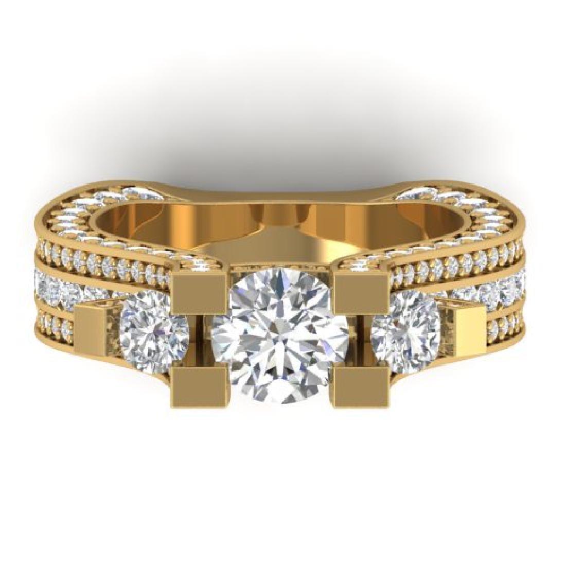 5.5 CTW Certified VS/SI Diamond Art Deco 3 Stone Micro