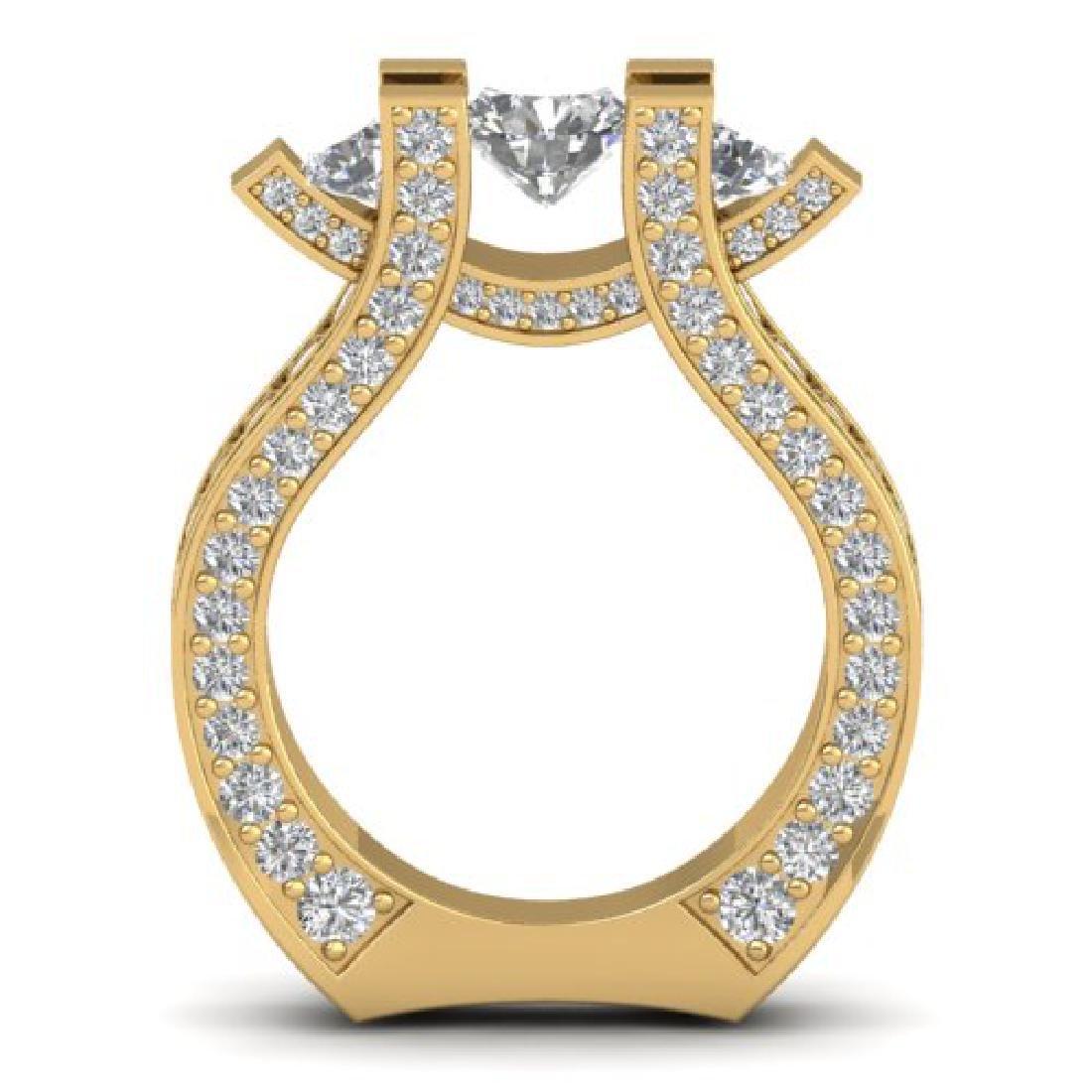 5.5 CTW Certified VS/SI Diamond Art Deco 3 Stone Micro - 3