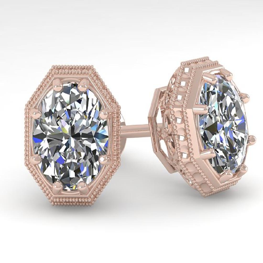 2.0 CTW VS/SI Oval Cut Diamond Stud Solitaire Earrings
