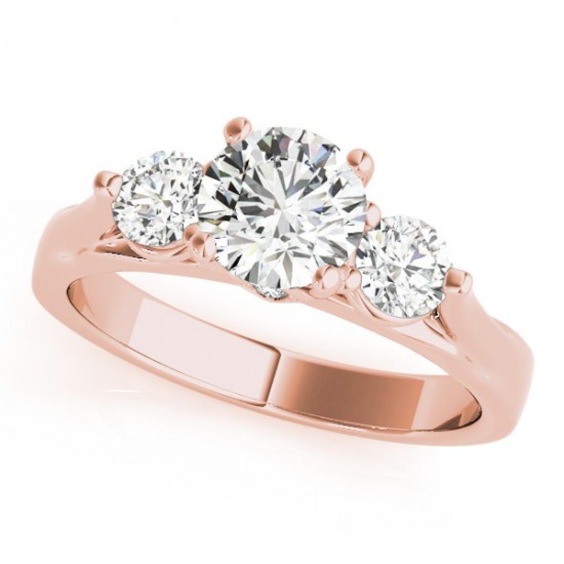 1.25 CTW Certified VS/SI Diamond 3 Stone Ring 14K Rose