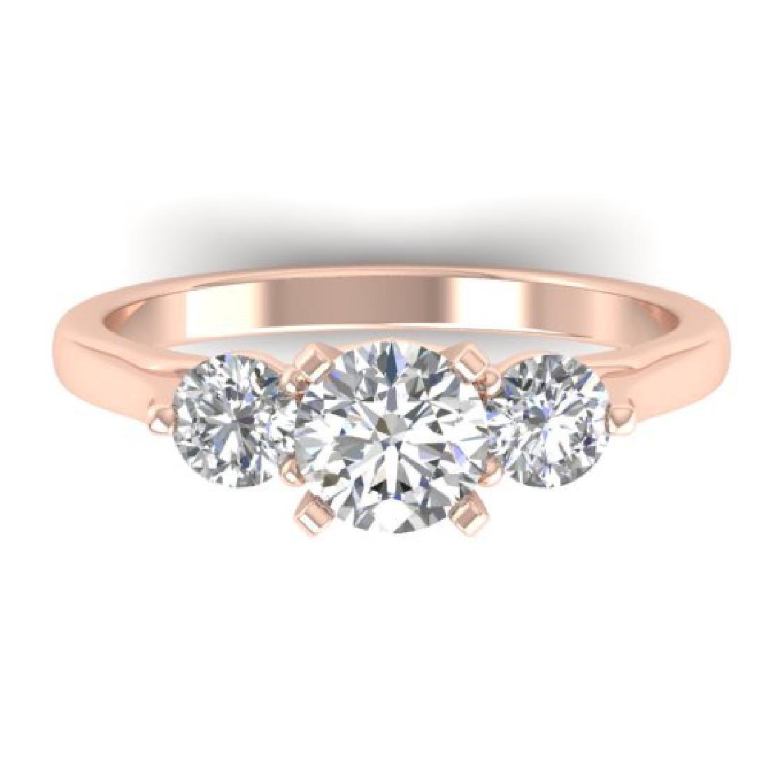 1.37 CTW Certified VS/SI Diamond Art Deco 3 Stone Ring