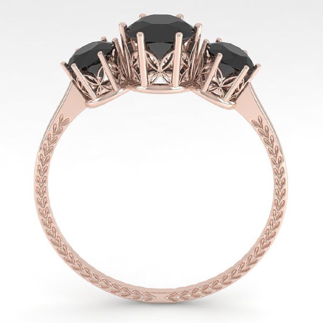 1 CTW Black Certified Diamond Art Deco Ring 14K Rose - 3