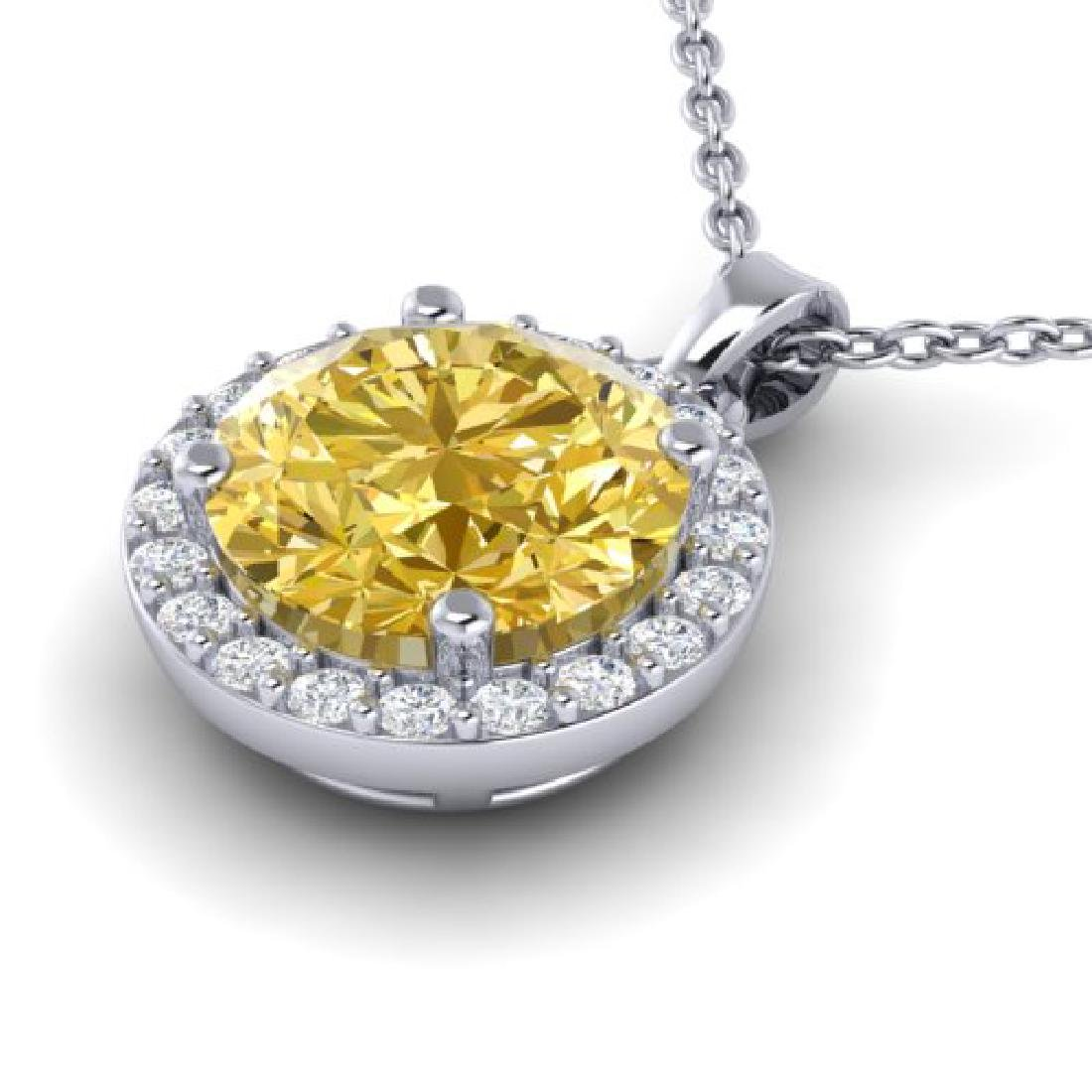 2 CTW Citrine & Halo VS/SI Diamond Micro Pave Necklace