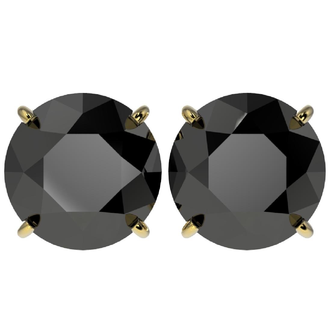 5 CTW Fancy Black VS Diamond Solitaire Stud Earrings
