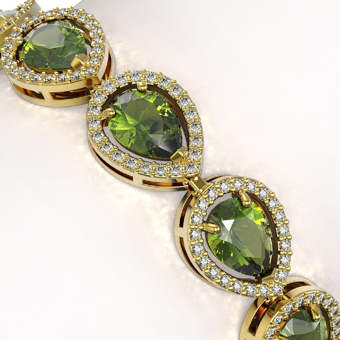 16.93 CTW Tourmaline & Diamond Halo Bracelet 10K Yellow - 3