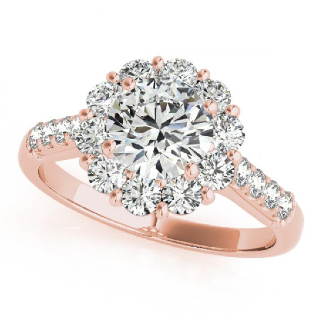 2 CTW Certified VS/SI Diamond Solitaire Halo Ring 14K