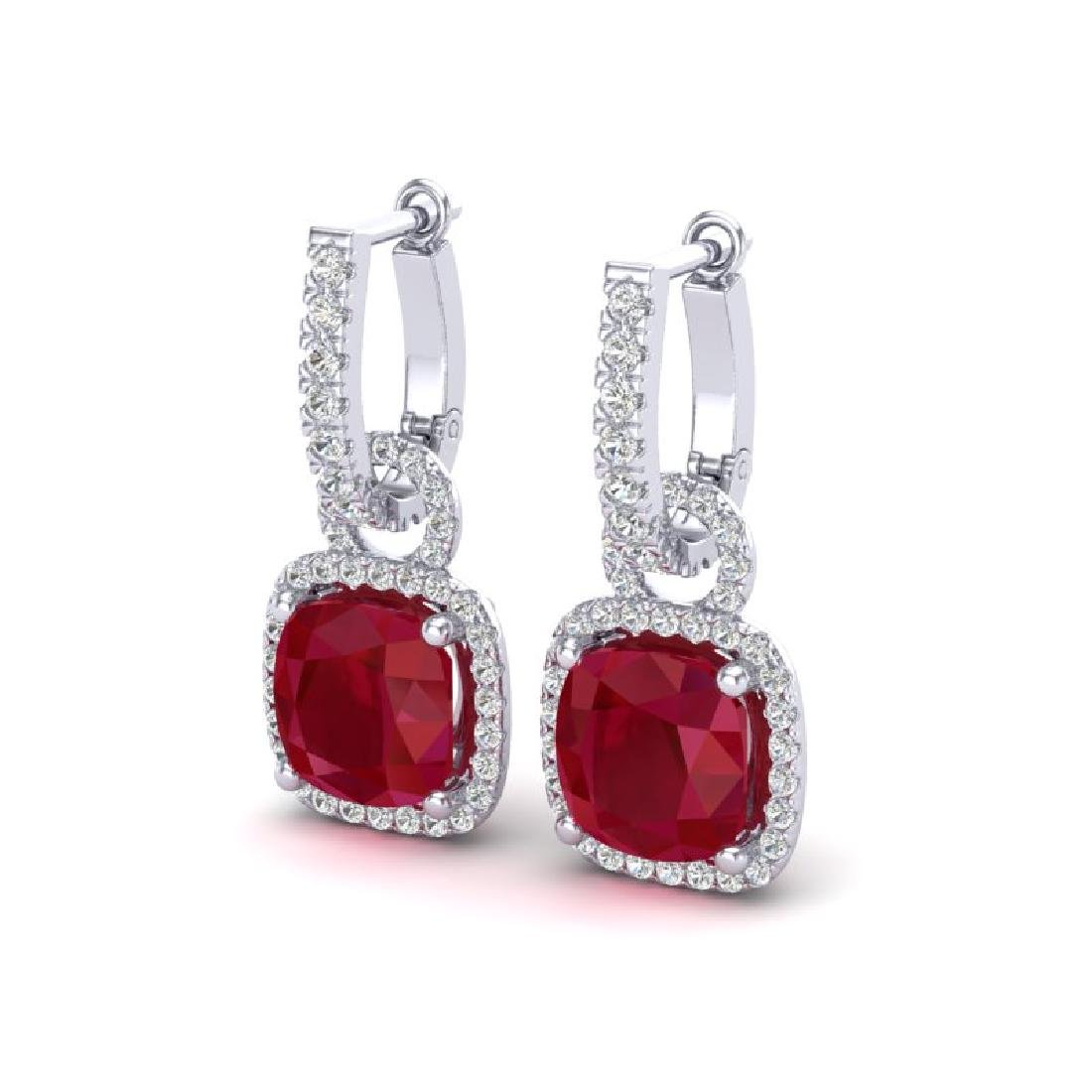 6 CTW Ruby & Micro Pave VS/SI Diamond Earrings 18K