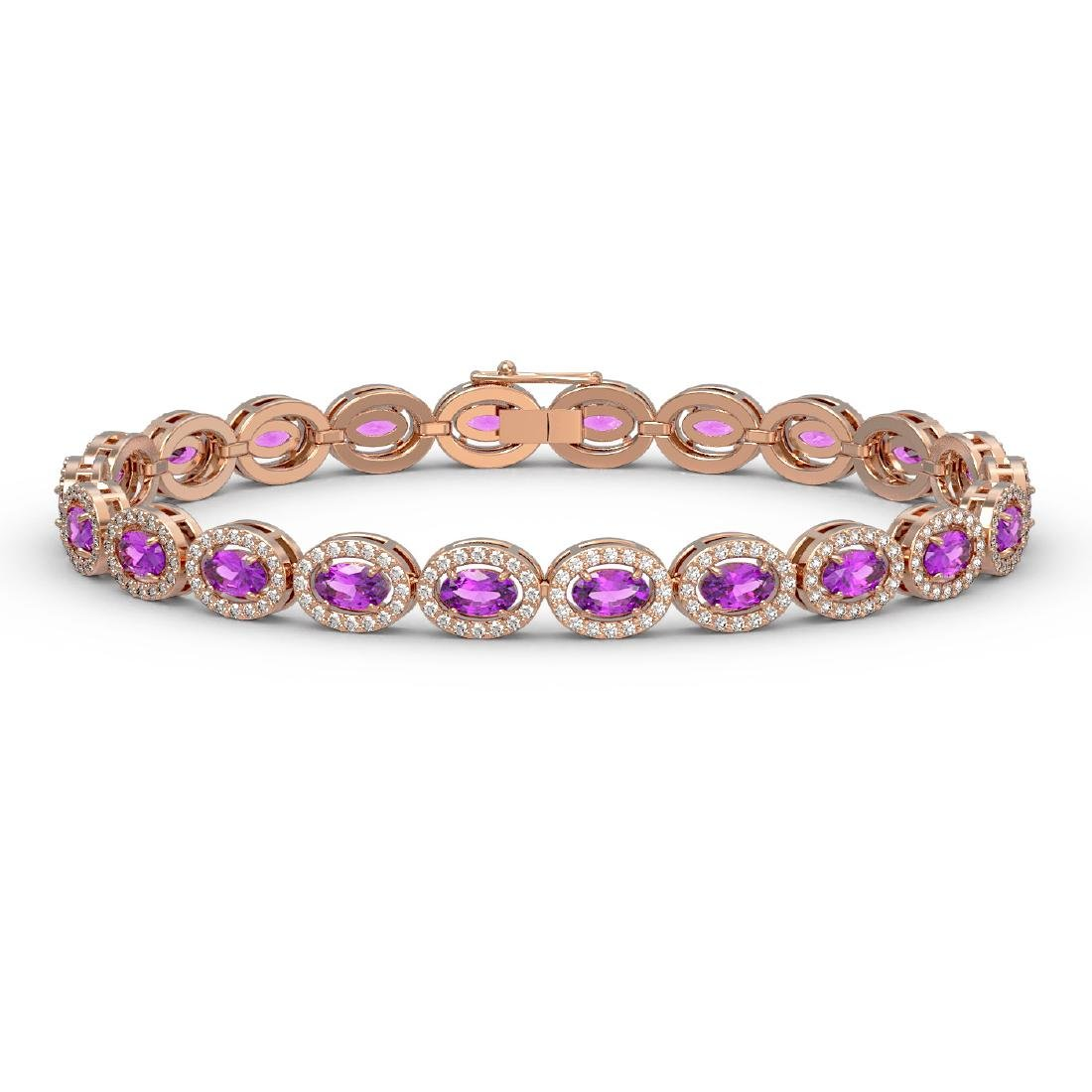 10.05 CTW Amethyst & Diamond Halo Bracelet 10K Rose
