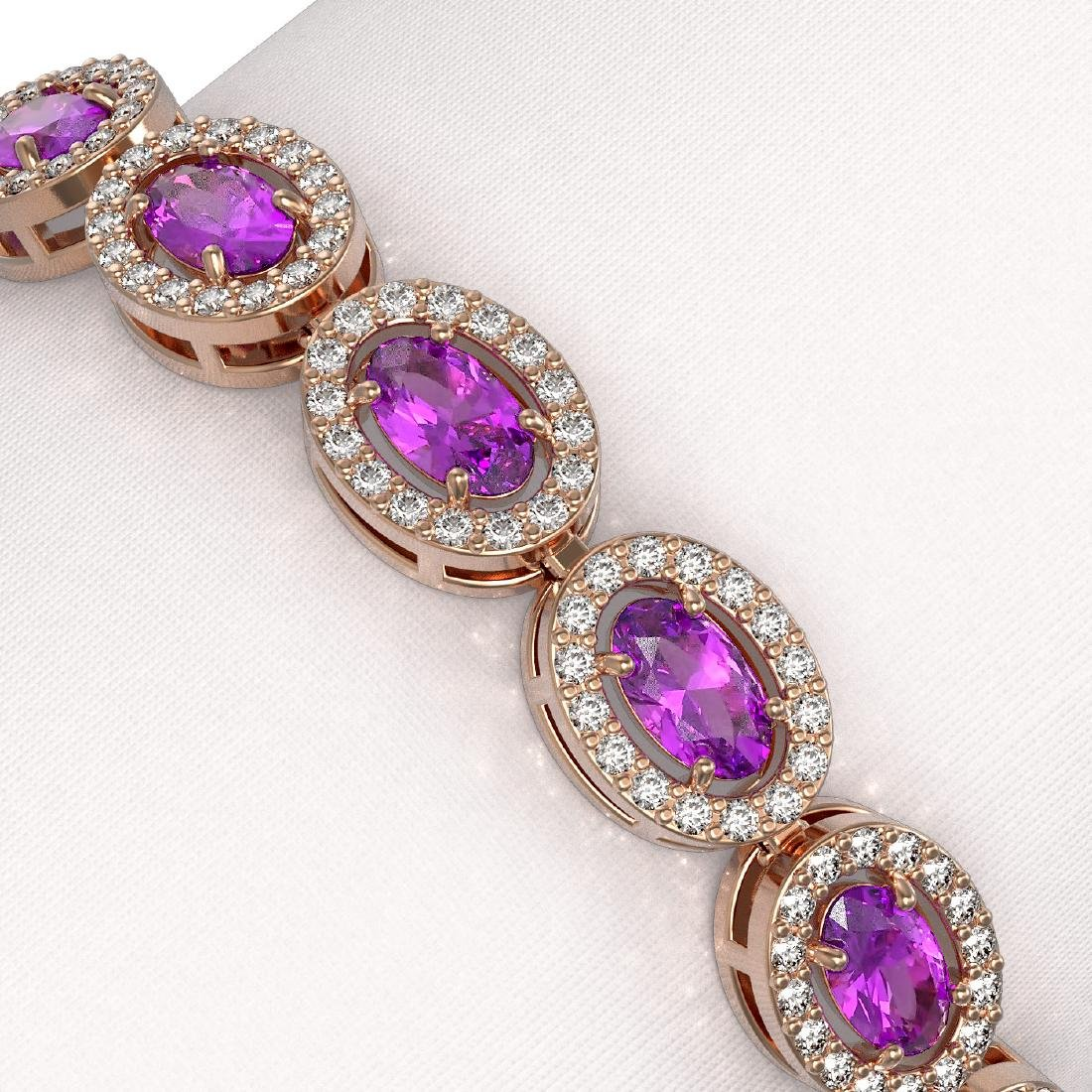 10.05 CTW Amethyst & Diamond Halo Bracelet 10K Rose - 3