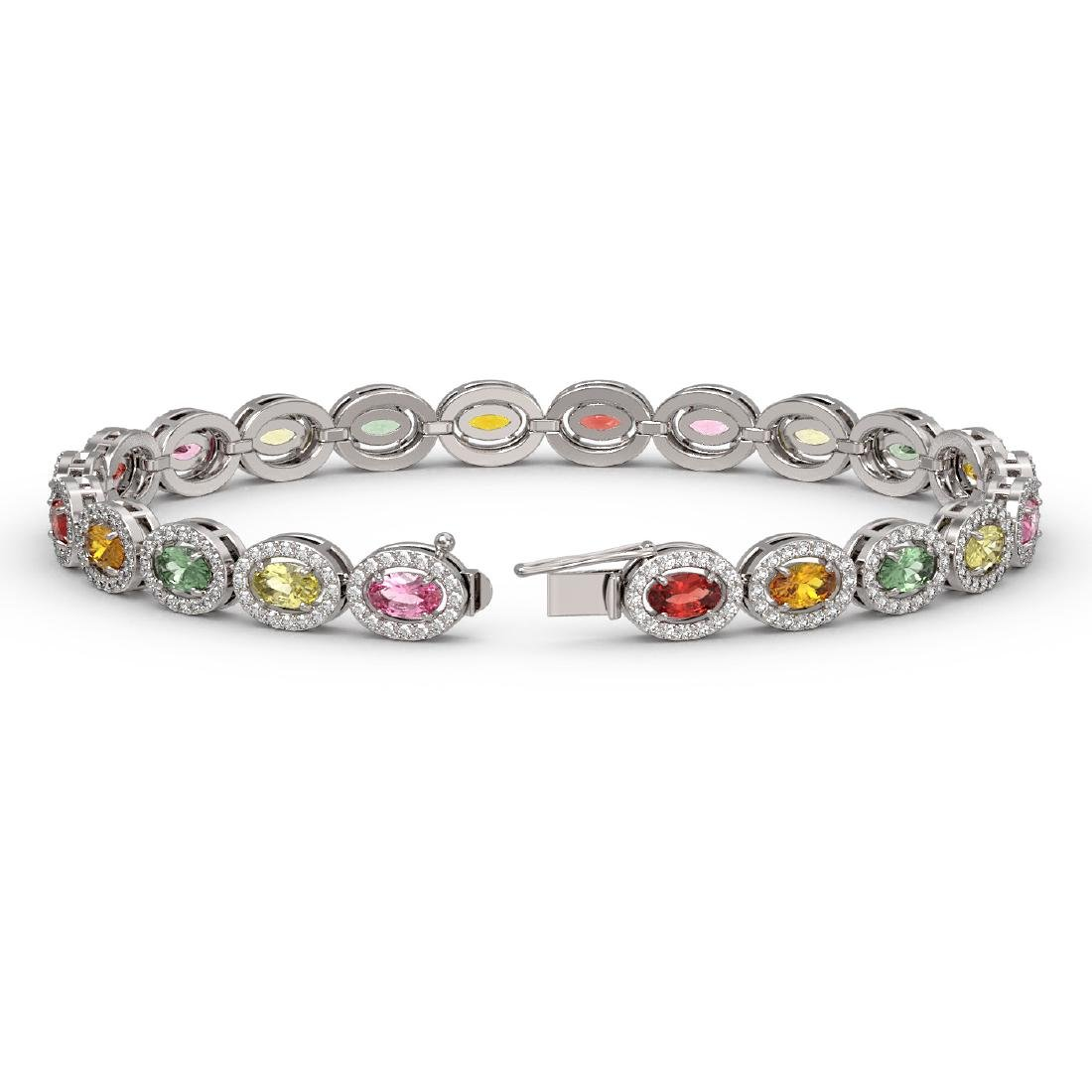 10.04 CTW Multi Color Sapphire & Diamond Halo Bracelet - 2