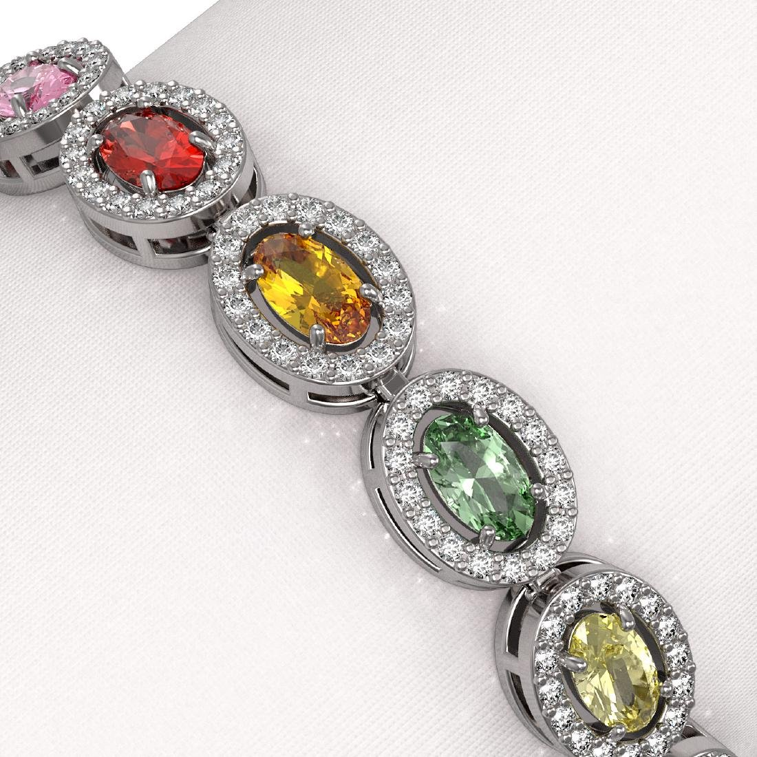 10.04 CTW Multi Color Sapphire & Diamond Halo Bracelet - 3