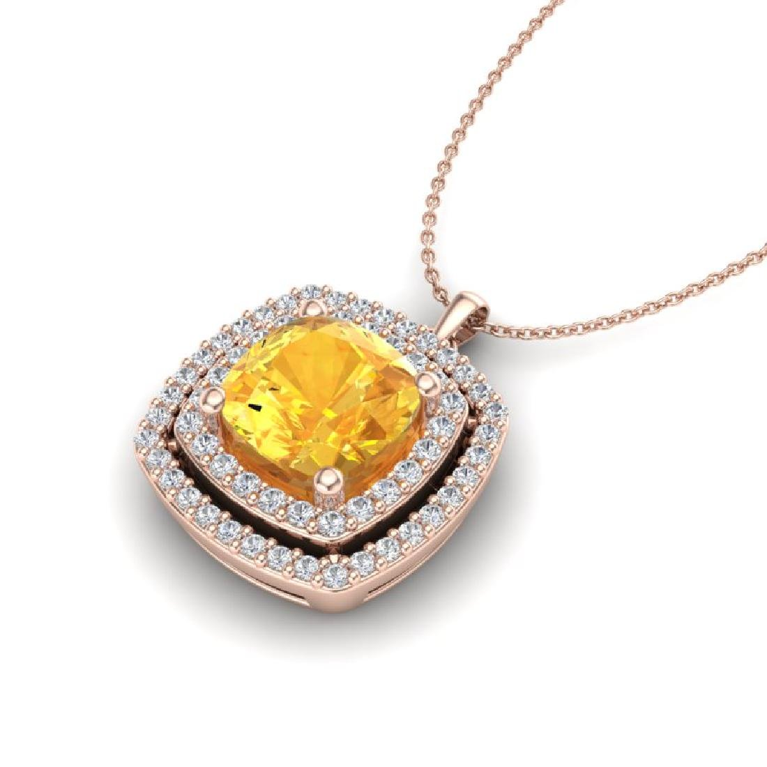 1.77 CTW Citrine & Micro Pave VS/SI Diamond Halo - 2