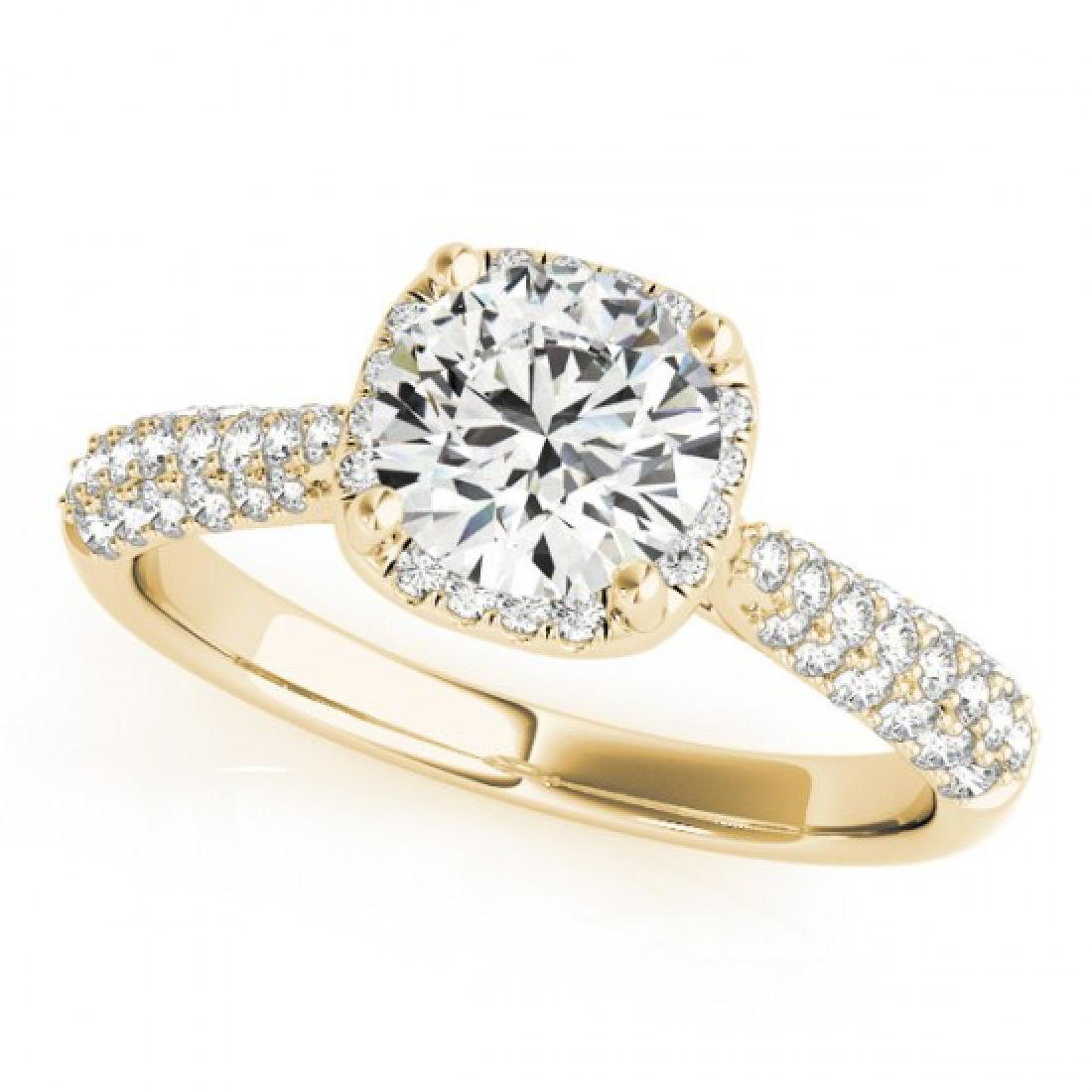 1.5 CTW Certified VS/SI Diamond Solitaire Halo Ring 14K - 2