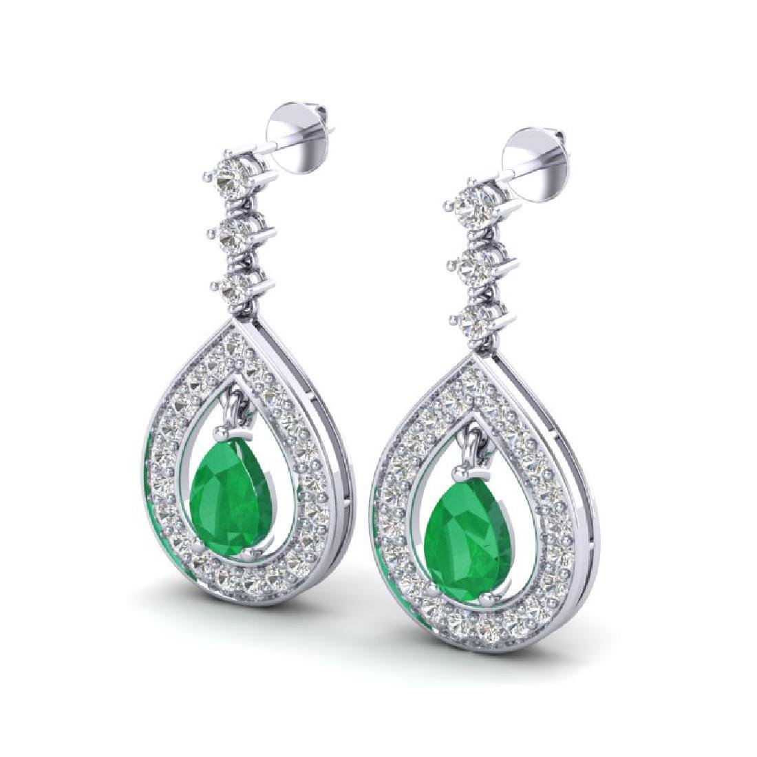 2.25 CTW Emerald & Micro Pave VS/SI Diamond Earrings