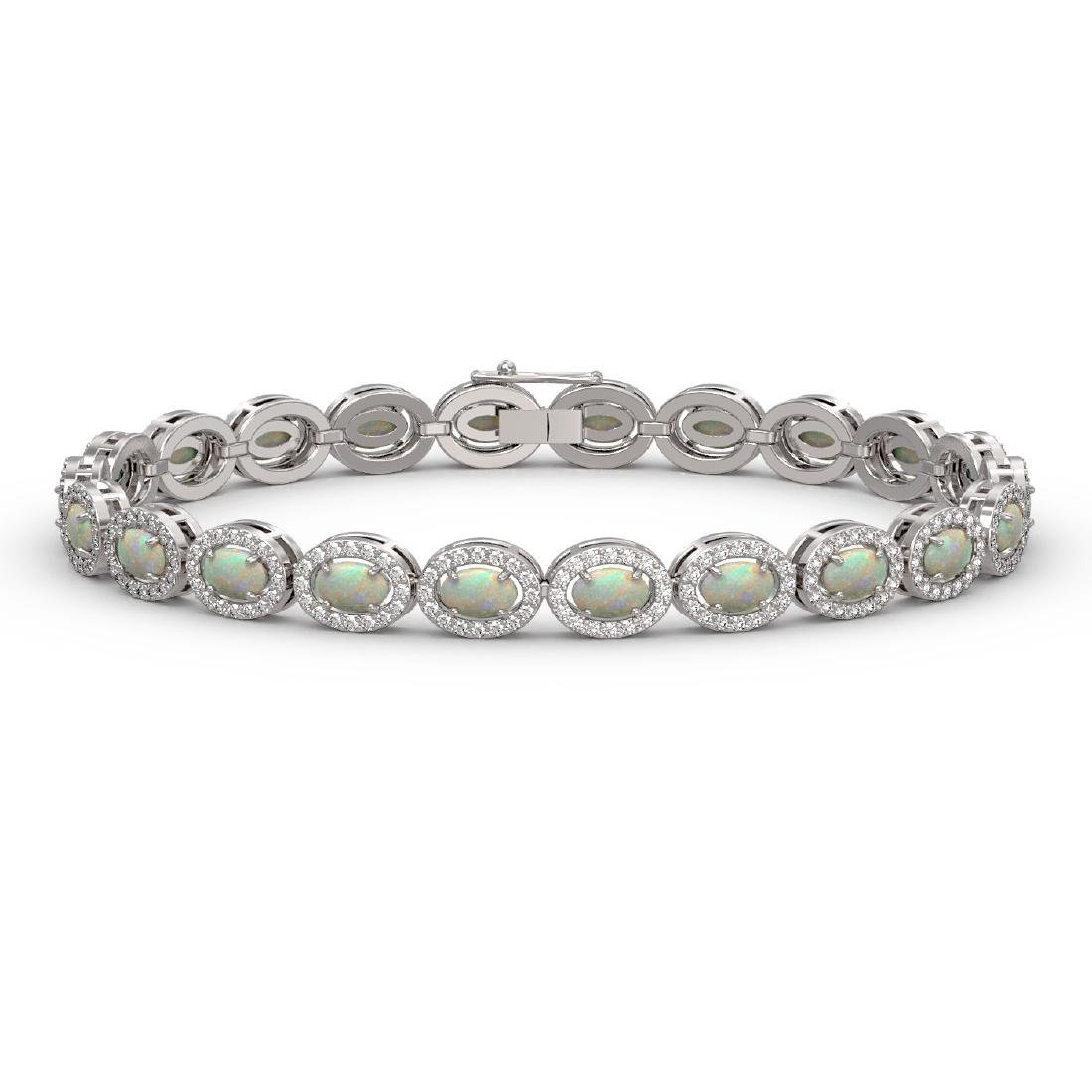 8.28 CTW Opal & Diamond Halo Bracelet 10K White Gold