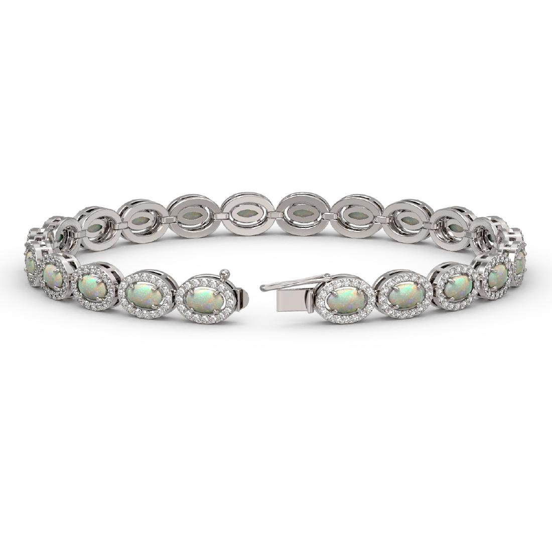 8.28 CTW Opal & Diamond Halo Bracelet 10K White Gold - 2