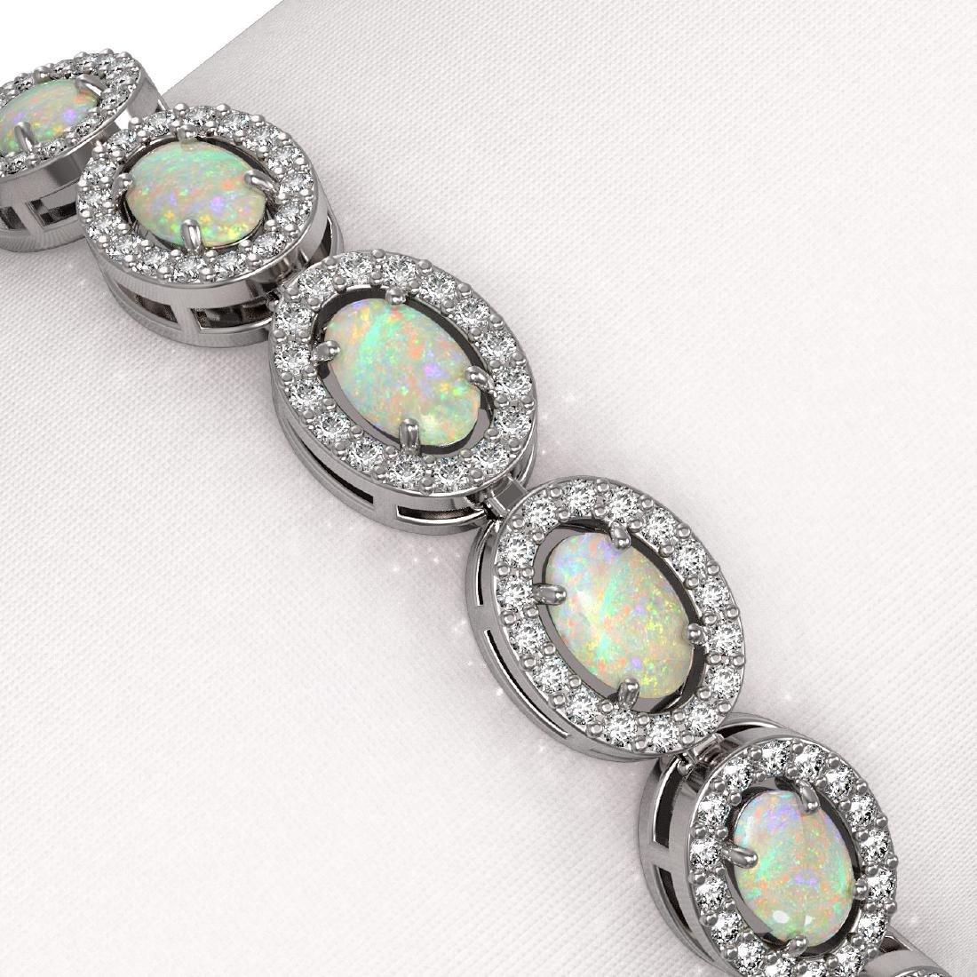 8.28 CTW Opal & Diamond Halo Bracelet 10K White Gold - 3
