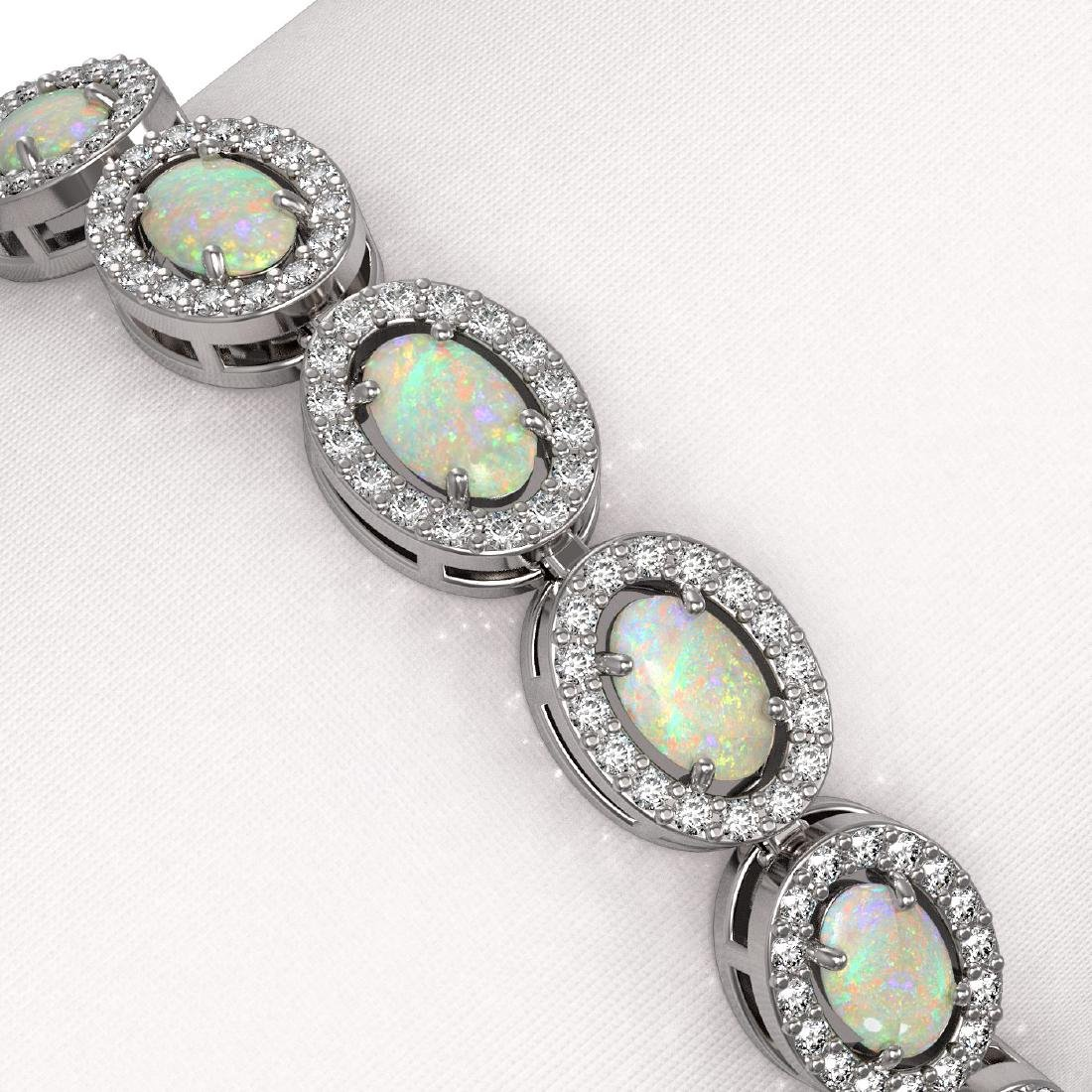 8.28 CTW Opal & Diamond Halo Bracelet 10K White Gold - 3