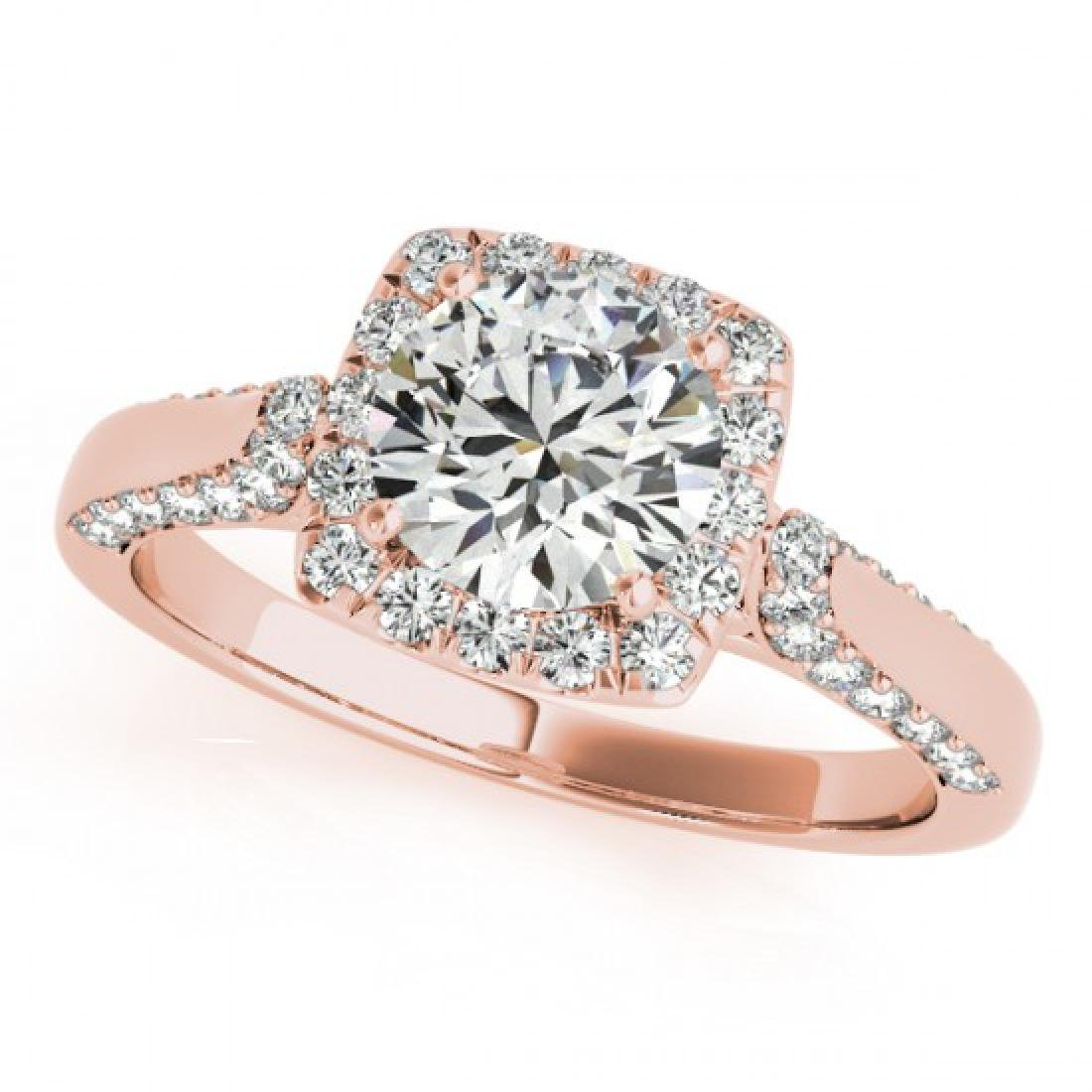 1.08 CTW Certified VS/SI Diamond Solitaire Halo Ring