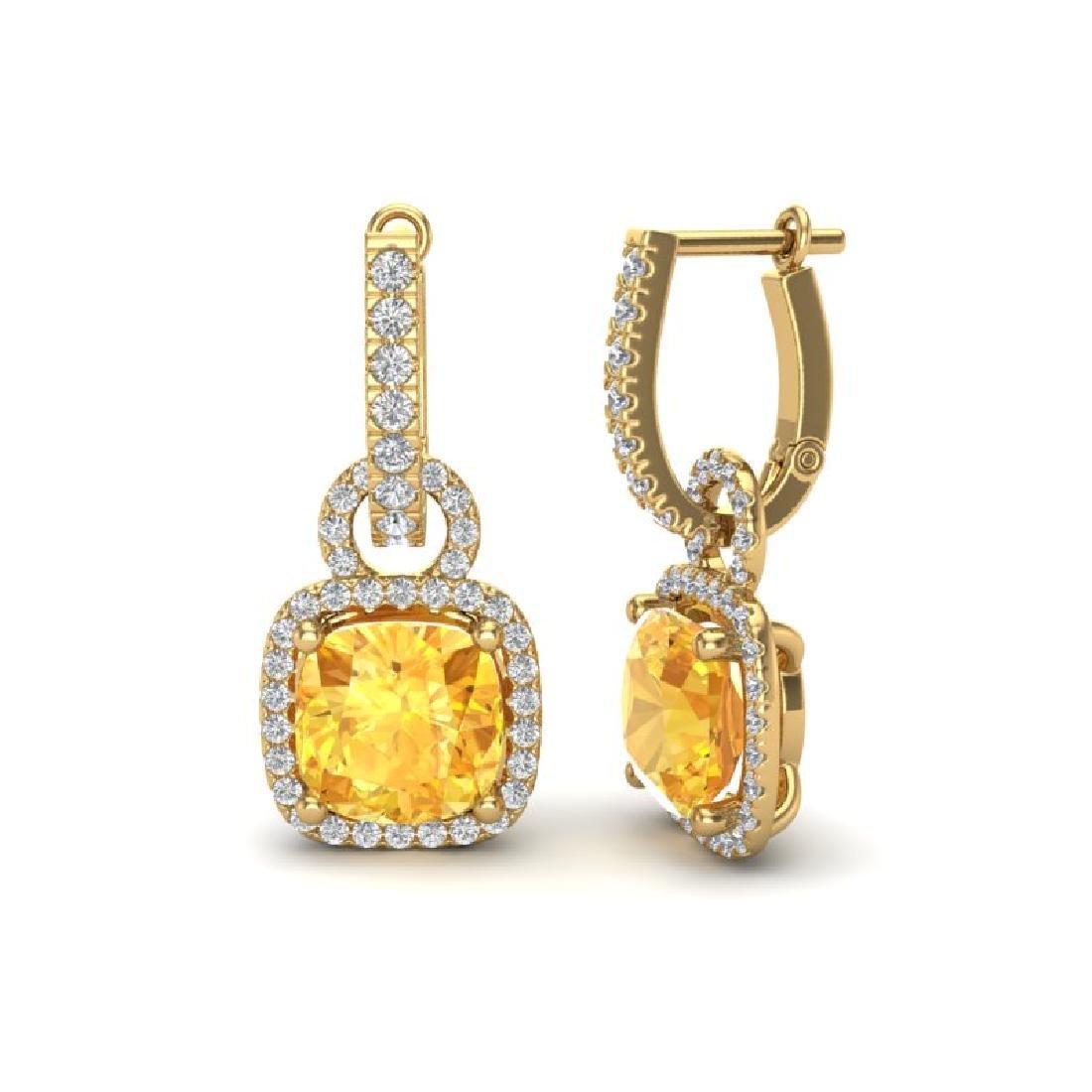 7 CTW Citrine & Micro Pave VS/SI Diamond Earrings 18K - 2