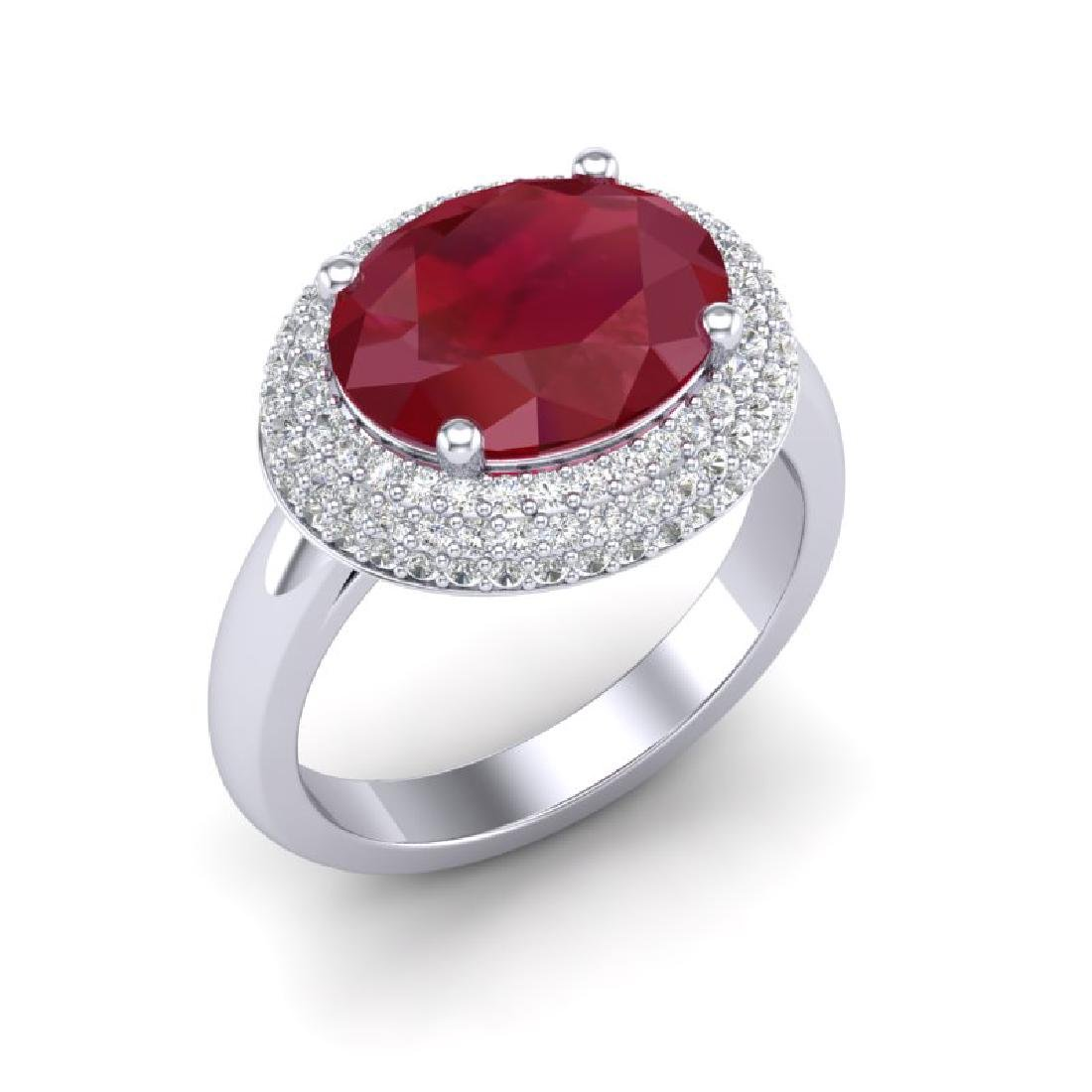 4.50 CTW Ruby & Micro Pave VS/SI Diamond Ring 18K White