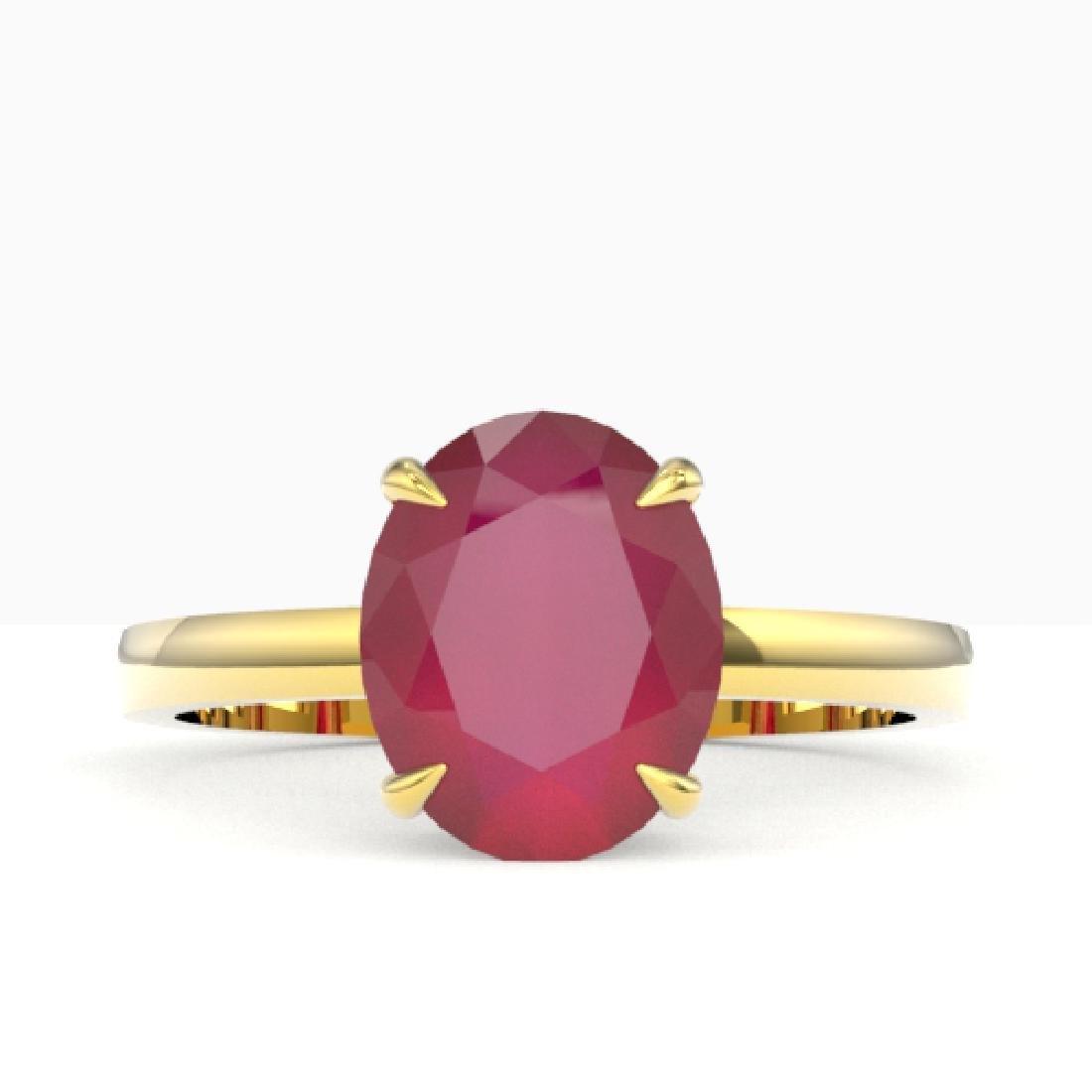 3.50 CTW Ruby Designer Inspired Solitaire Ring 18K