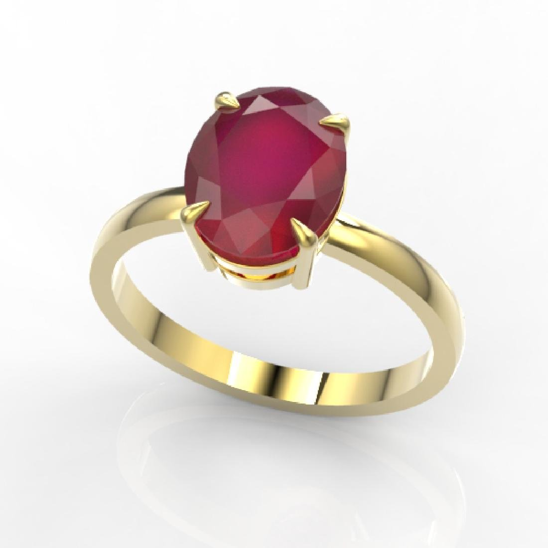 3.50 CTW Ruby Designer Inspired Solitaire Ring 18K - 2