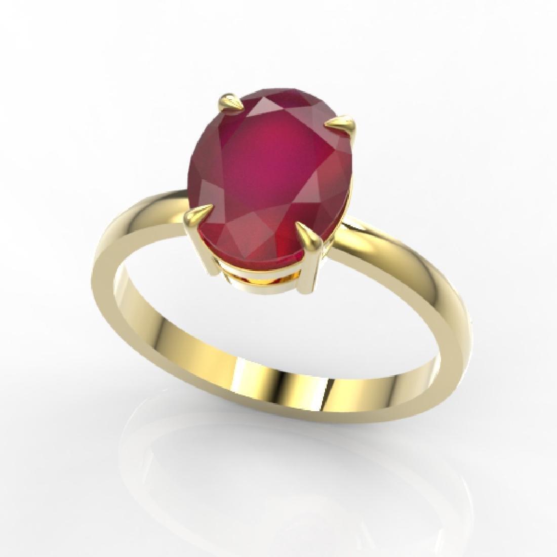 3.50 CTW Ruby Designer Inspired Solitaire Ring 18K - 2