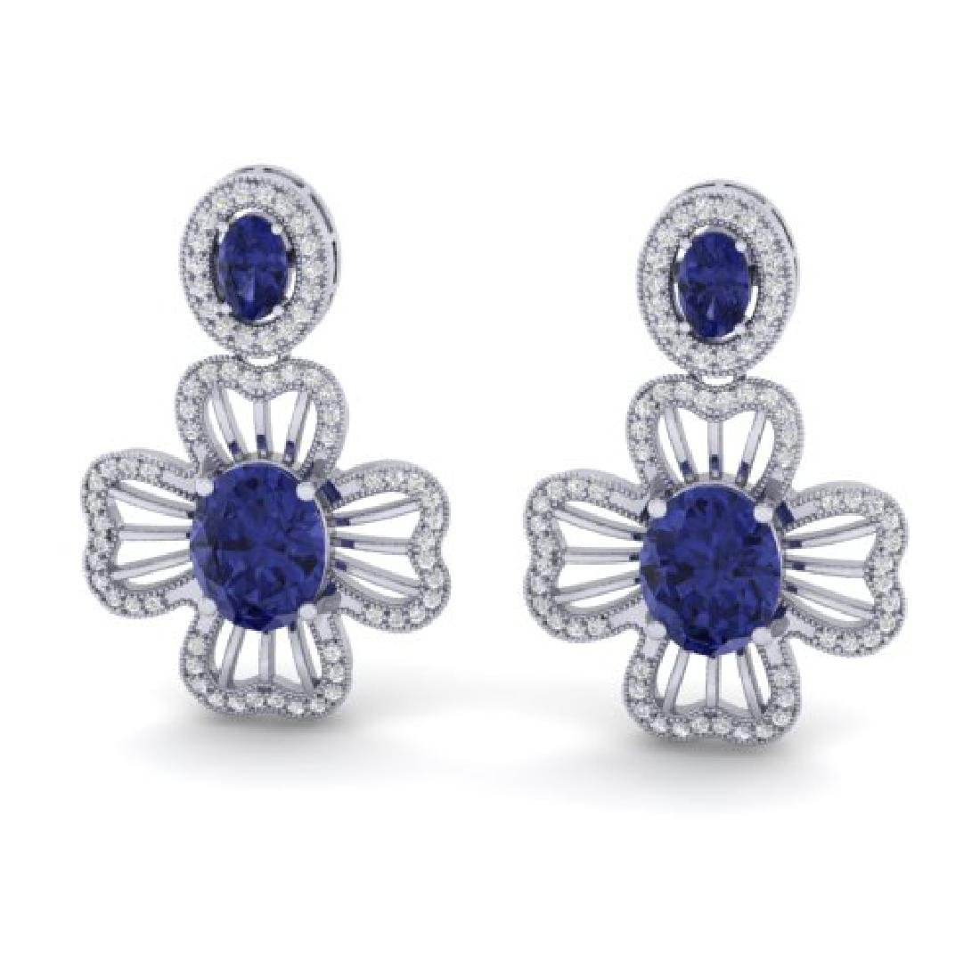9.26 CTW Tanzanite & Micro Pave VS/SI Diamond Earrings