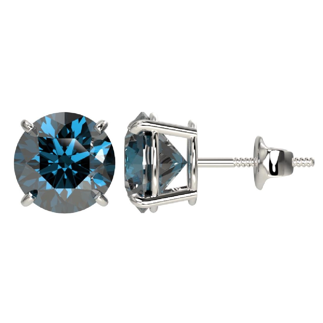 3 CTW Certified Intense Blue SI Diamond Solitaire Stud - 2