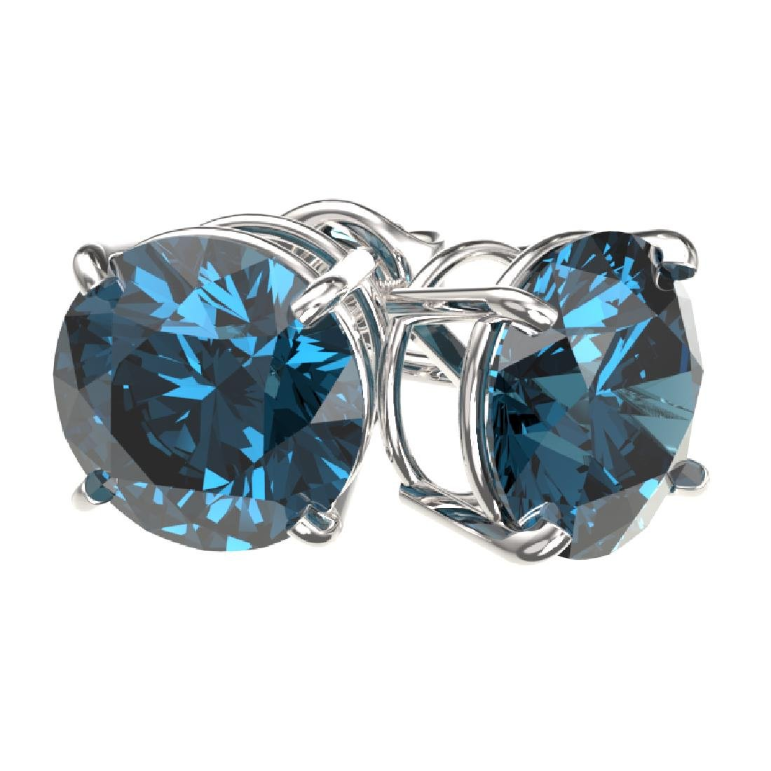 3 CTW Certified Intense Blue SI Diamond Solitaire Stud - 3