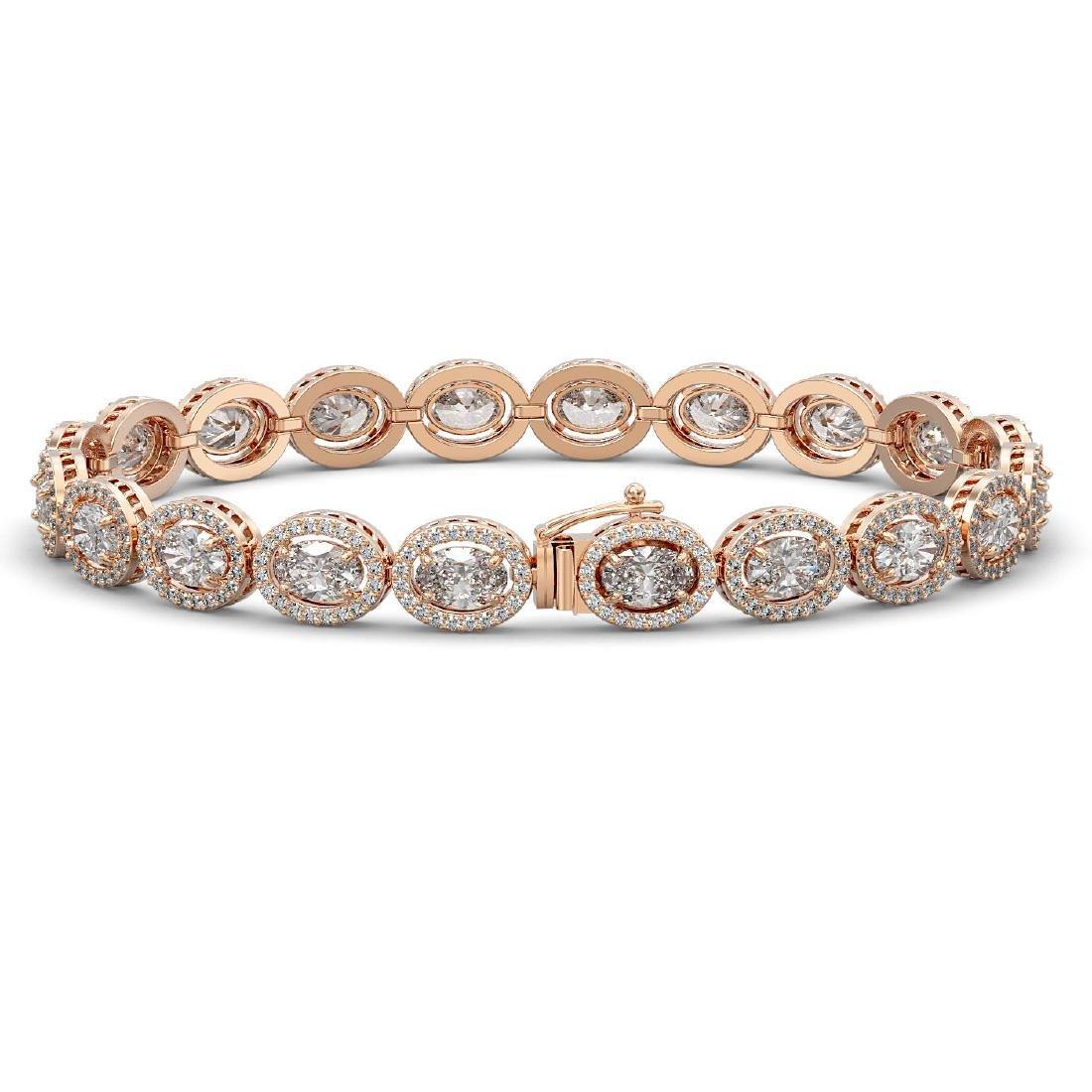 13.25 CTW Oval Diamond Designer Bracelet 18K Rose Gold - 2