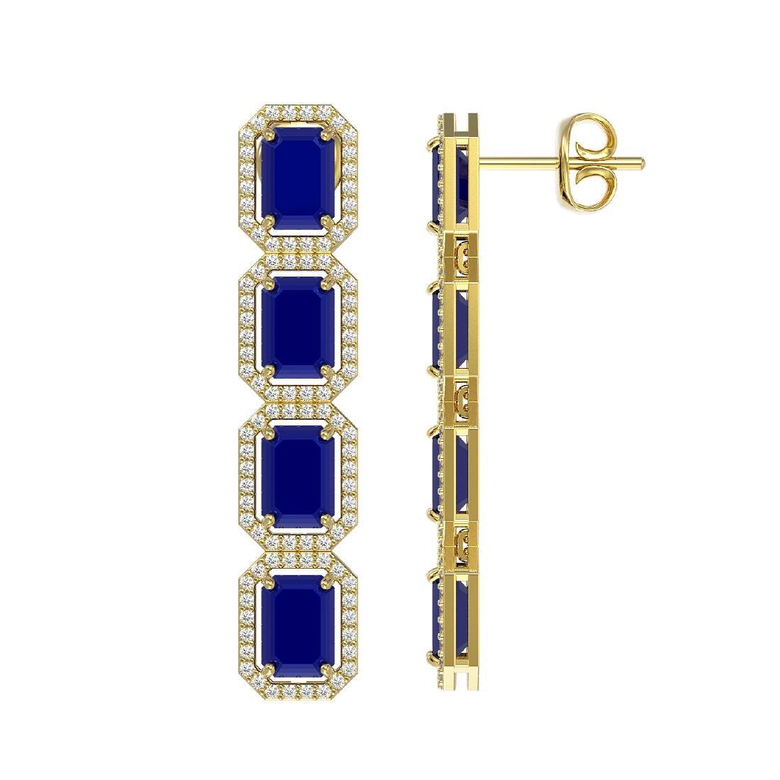 12.33 CTW Sapphire & Diamond Halo Earrings 10K Yellow - 2