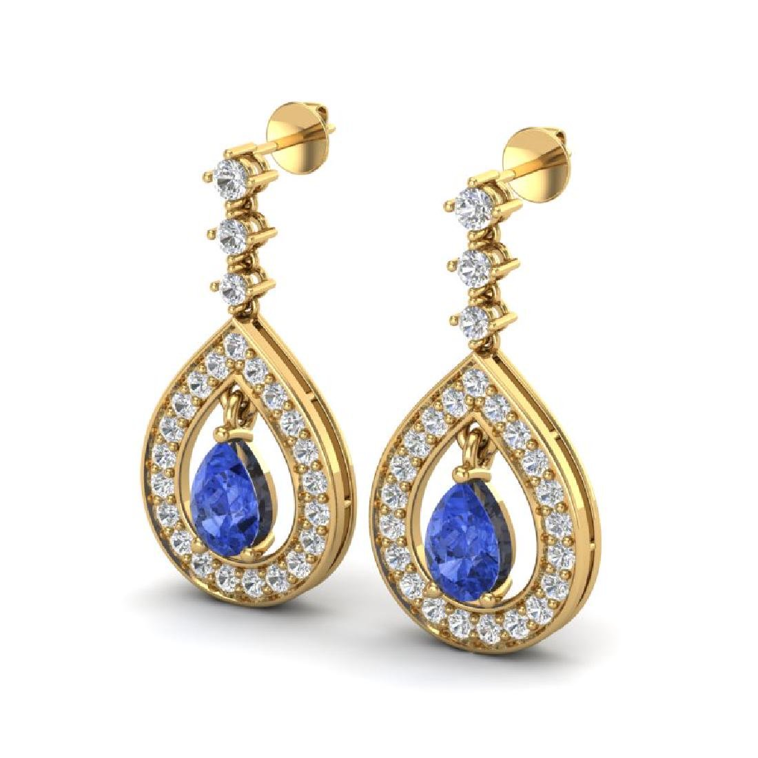 2.25 CTW Tanzanite & Micro Pave VS/SI Diamond Earrings