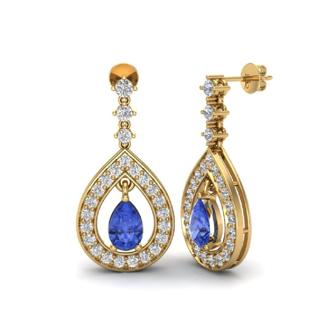 2.25 CTW Tanzanite & Micro Pave VS/SI Diamond Earrings - 2