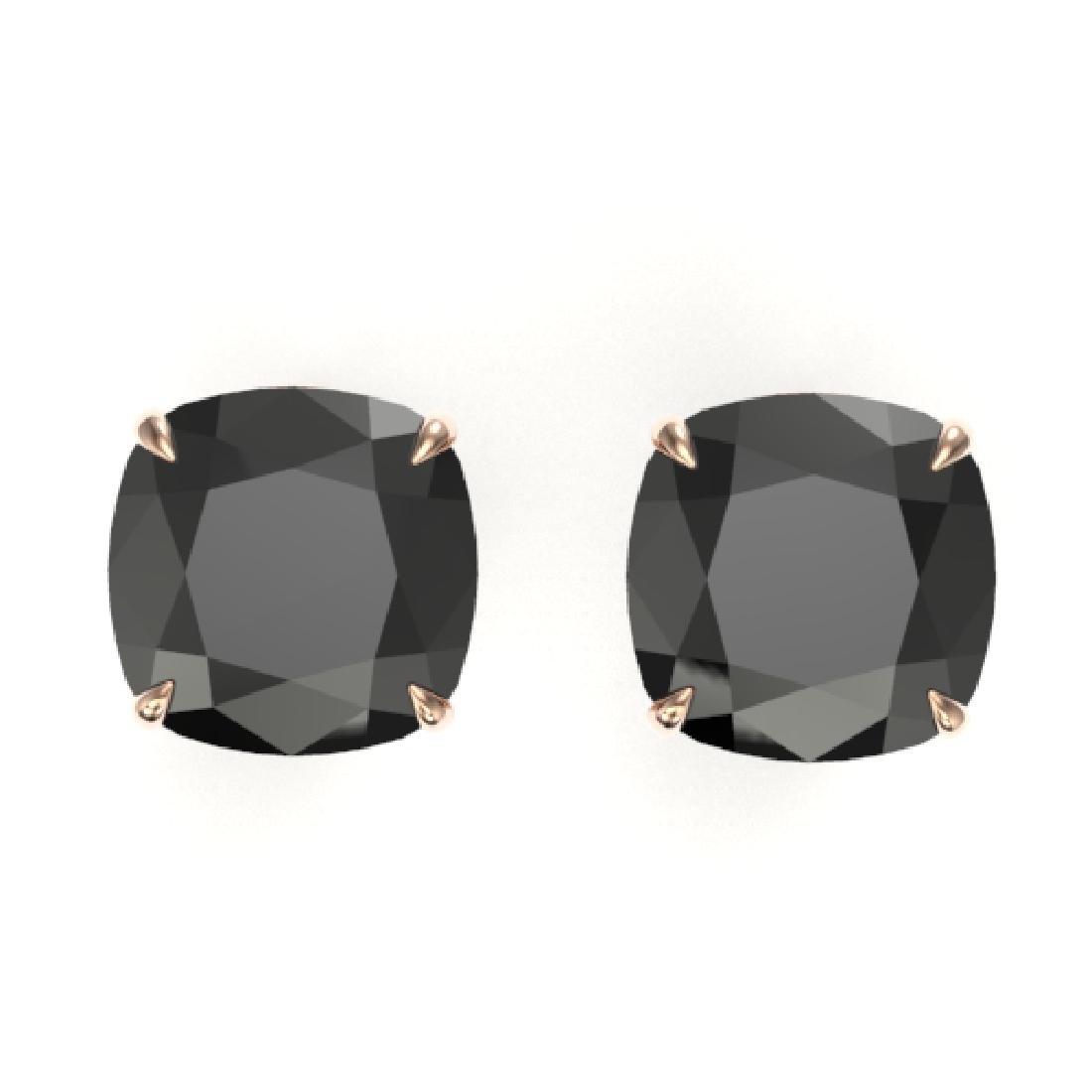 12 CTW Cushion Cut Black VS/SI Diamond Designer Stud