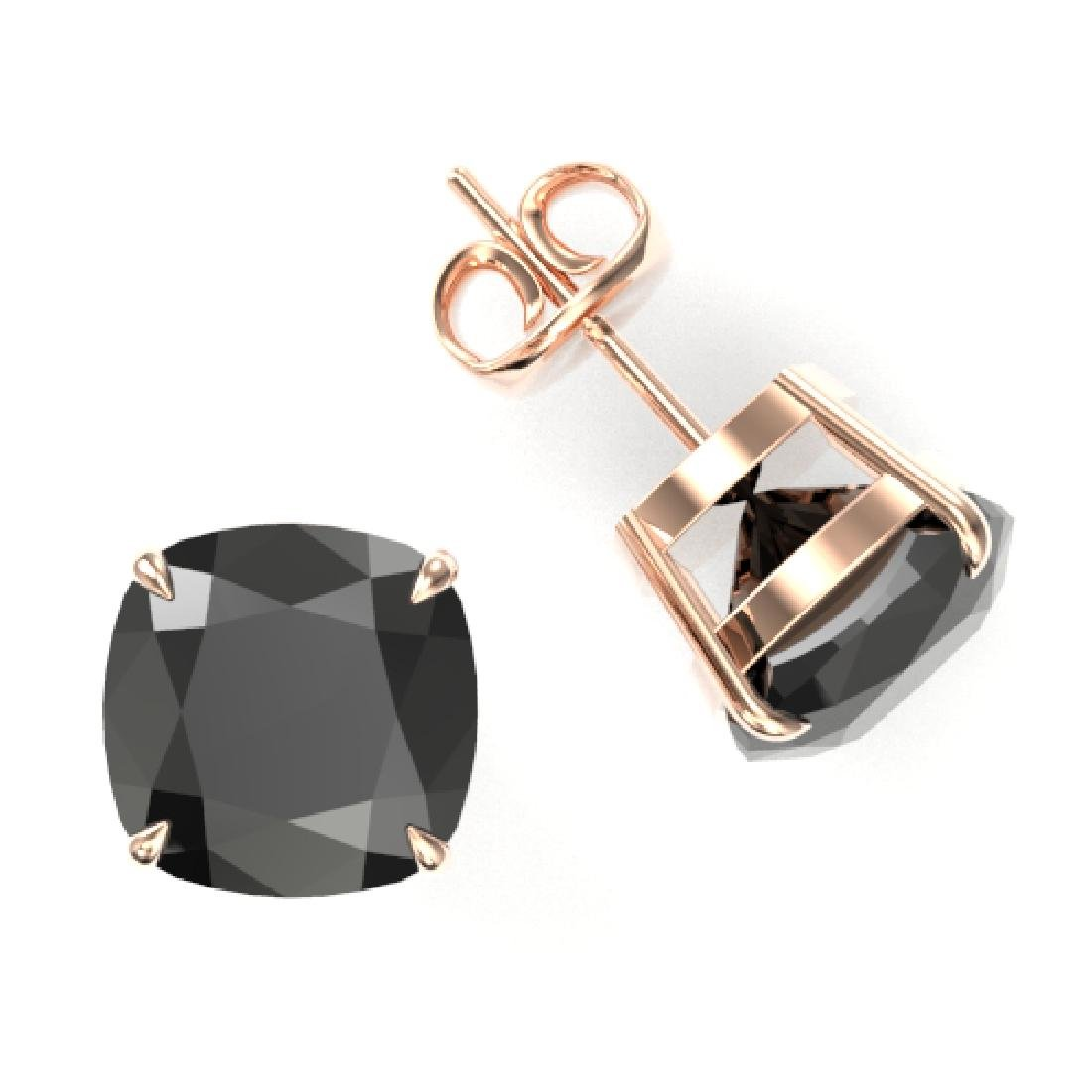 12 CTW Cushion Cut Black VS/SI Diamond Designer Stud - 2