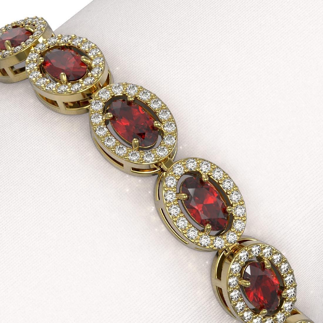 10.11 CTW Garnet & Diamond Halo Bracelet 10K Yellow - 3